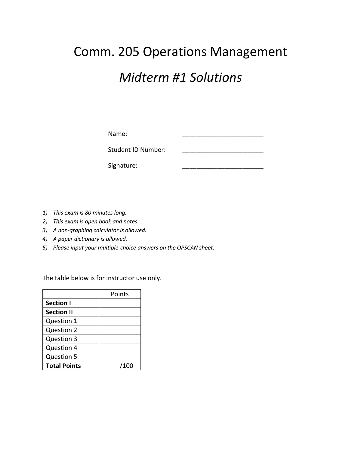 Exam 3 February 2015, questions and answers - Comm 205 3
