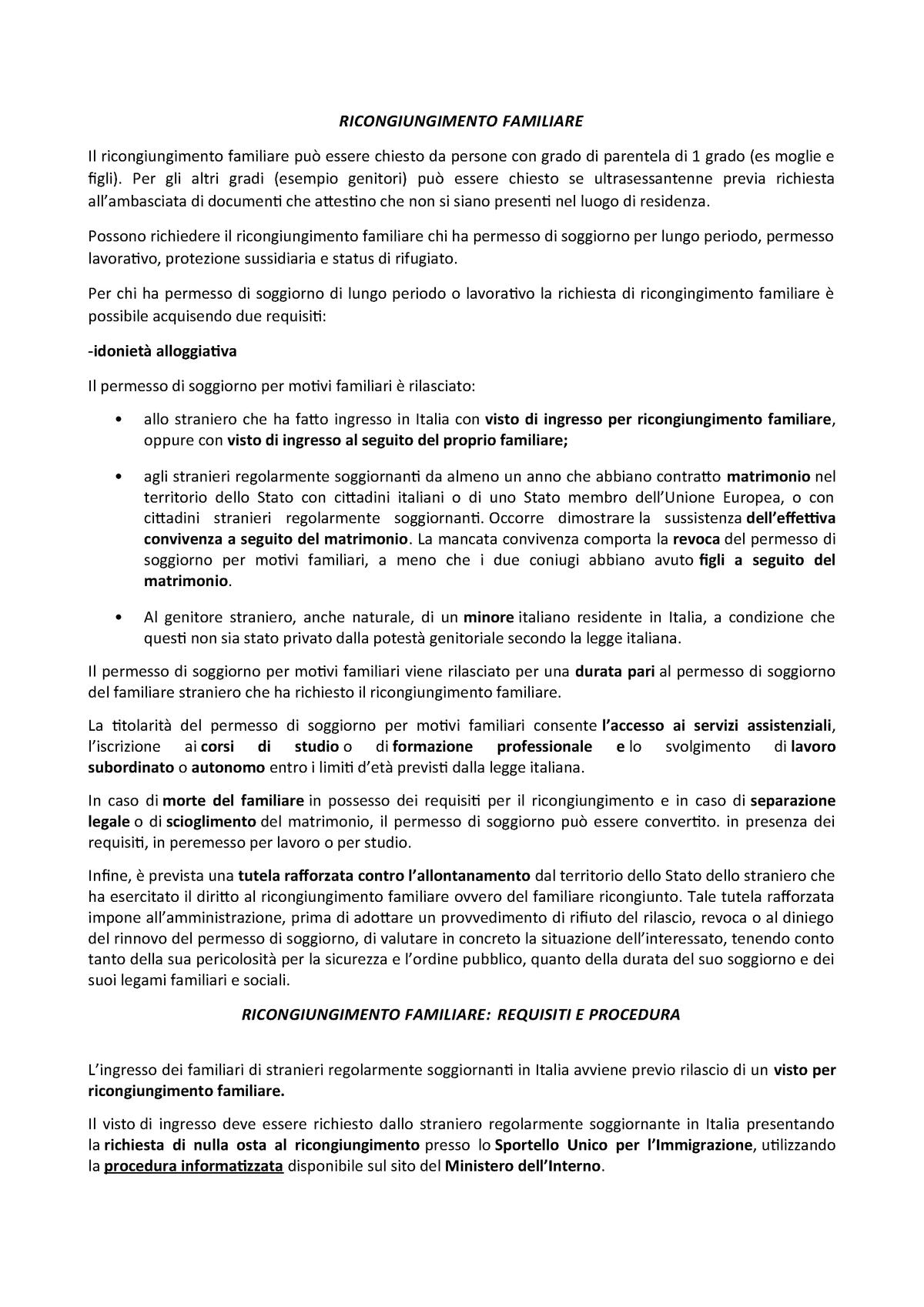 Ricongiungimento Familiare - 1042045 - uniroma1 - StuDocu