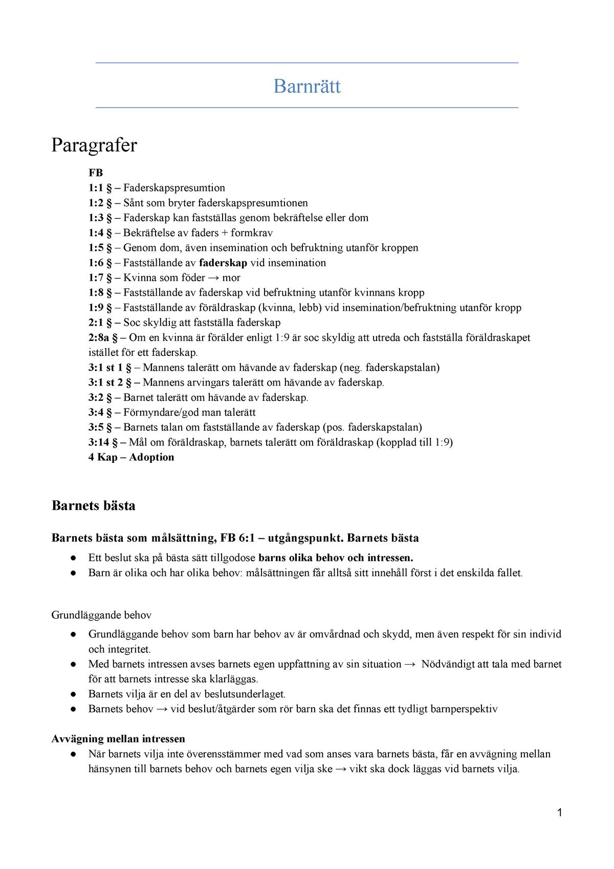 f64f2257 Tentapärm Barnrätt - Terminskurs 3: Civilrätt 2JJ303 - StuDocu