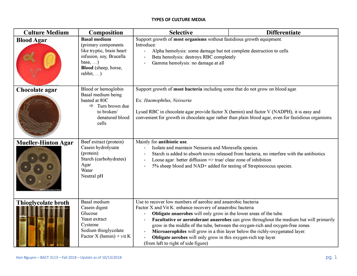 Culture Medium Summary General Microbiology Types Of Culture Media Culture Studocu