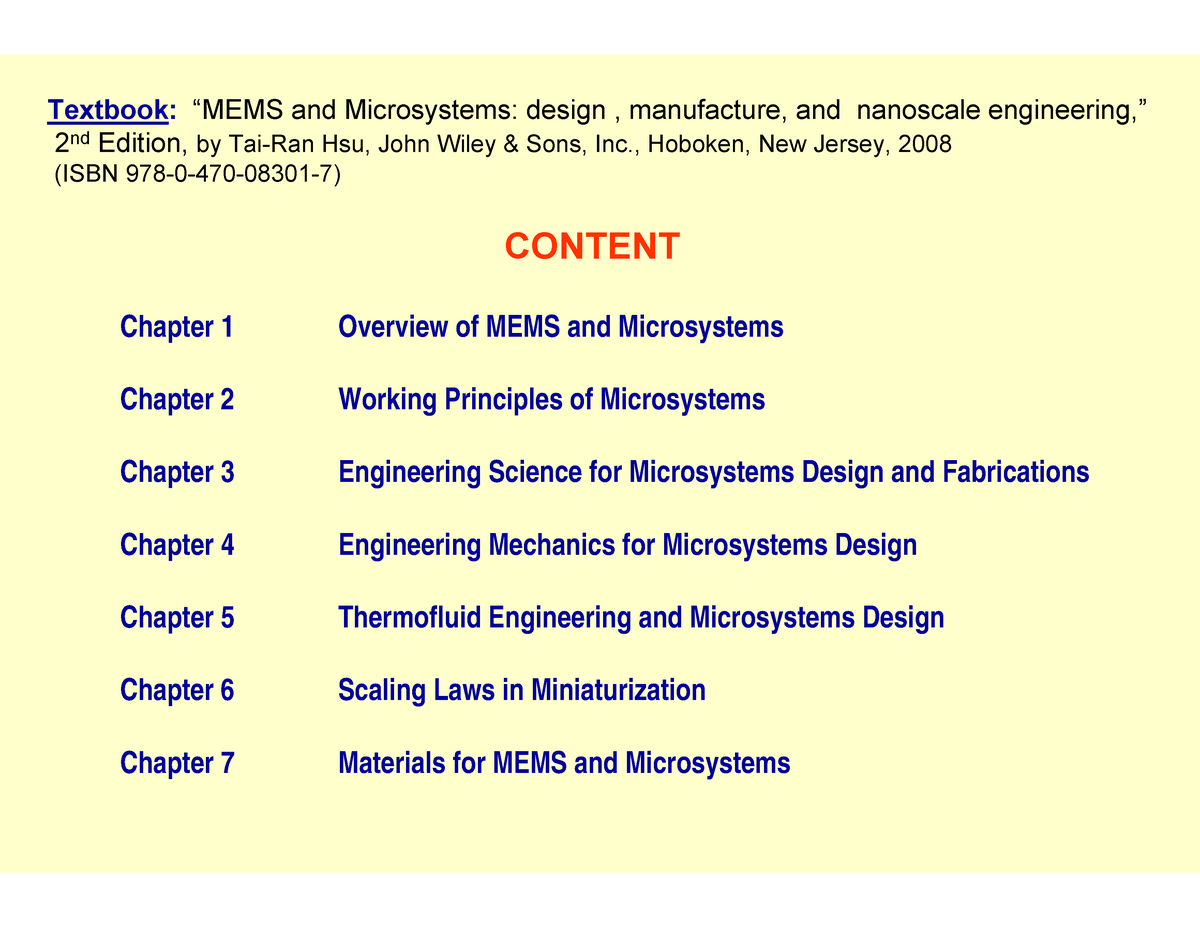 Mems Microsystems Design Manufacture And Nanoscale Engineering 2 Studocu