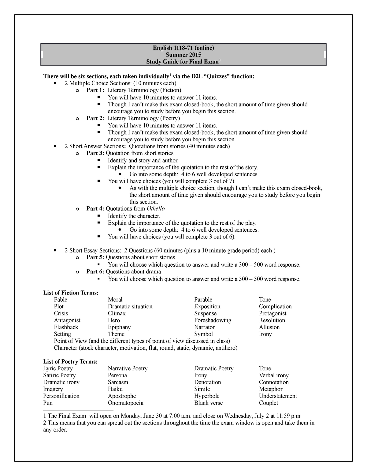 A List Of Fables And Their Morals final exam study guide - english 1118 - reading and writing