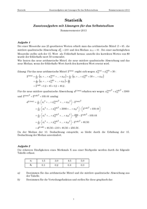 Klausur 2013 - Statistik - StuDocu