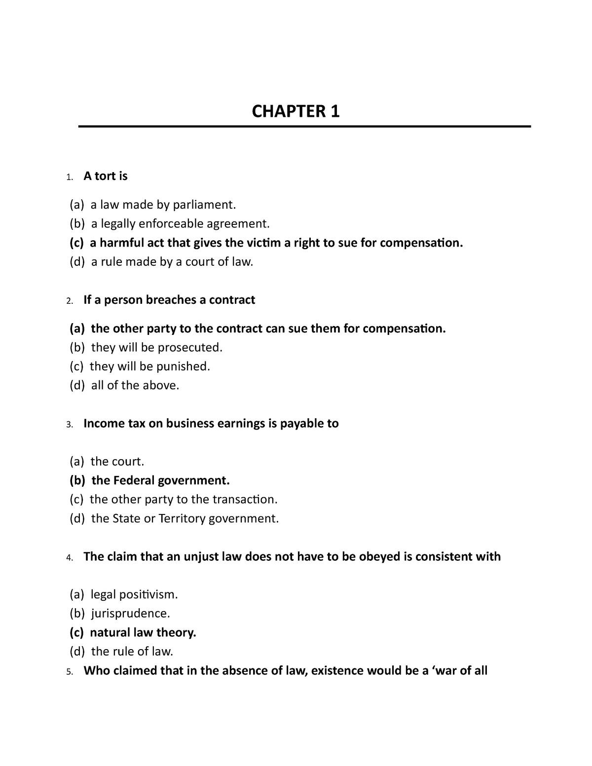 MCQ EXAM - LAW2446 Commercial Law - RMIT - StuDocu