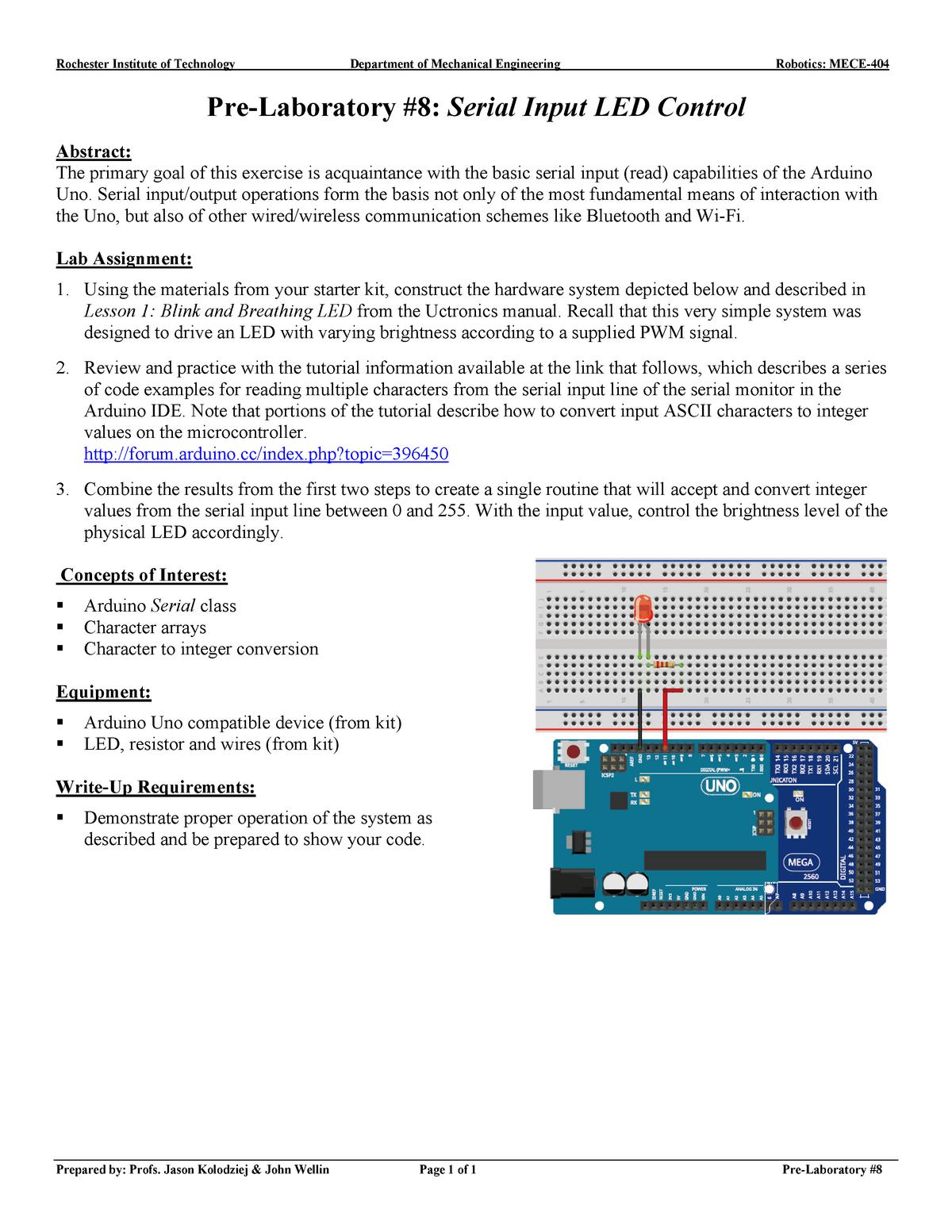 Pre Lab 8 Serial Input LED Control rev0 - 0306 775: Robotics