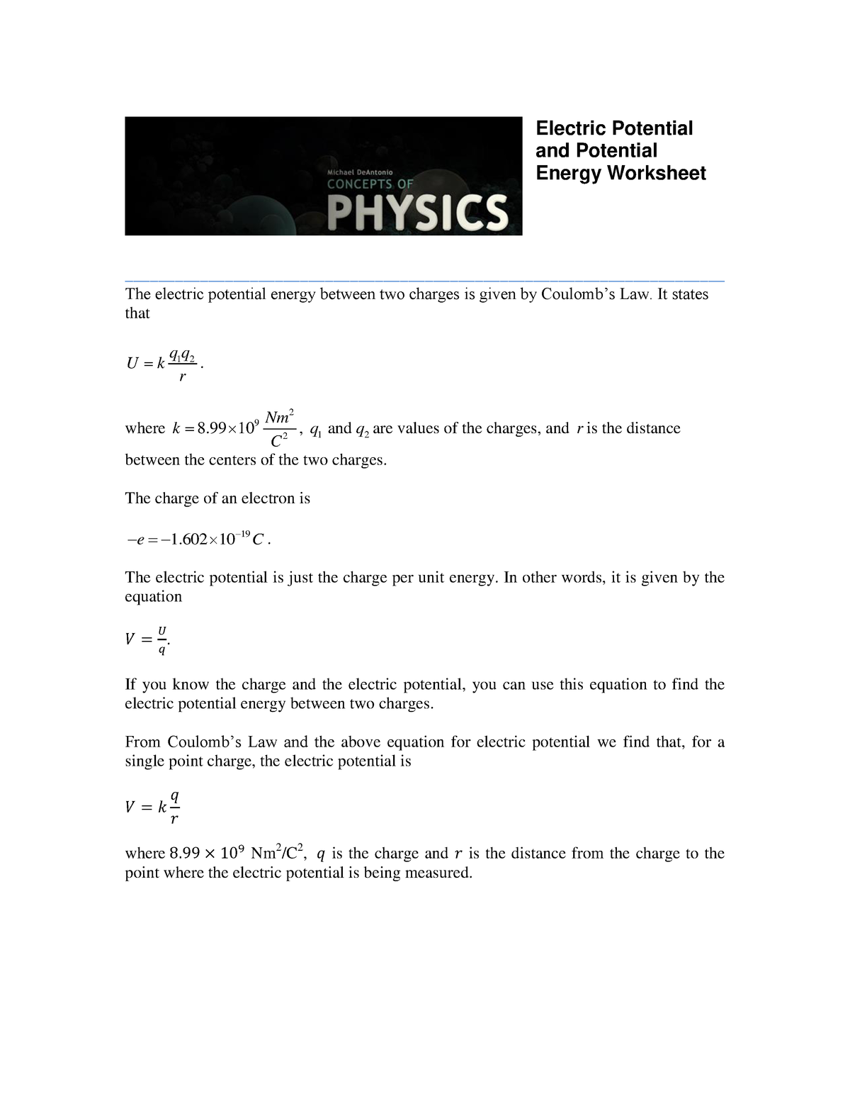 Worksheet Electric Potential and Potential Energy Solutions ...