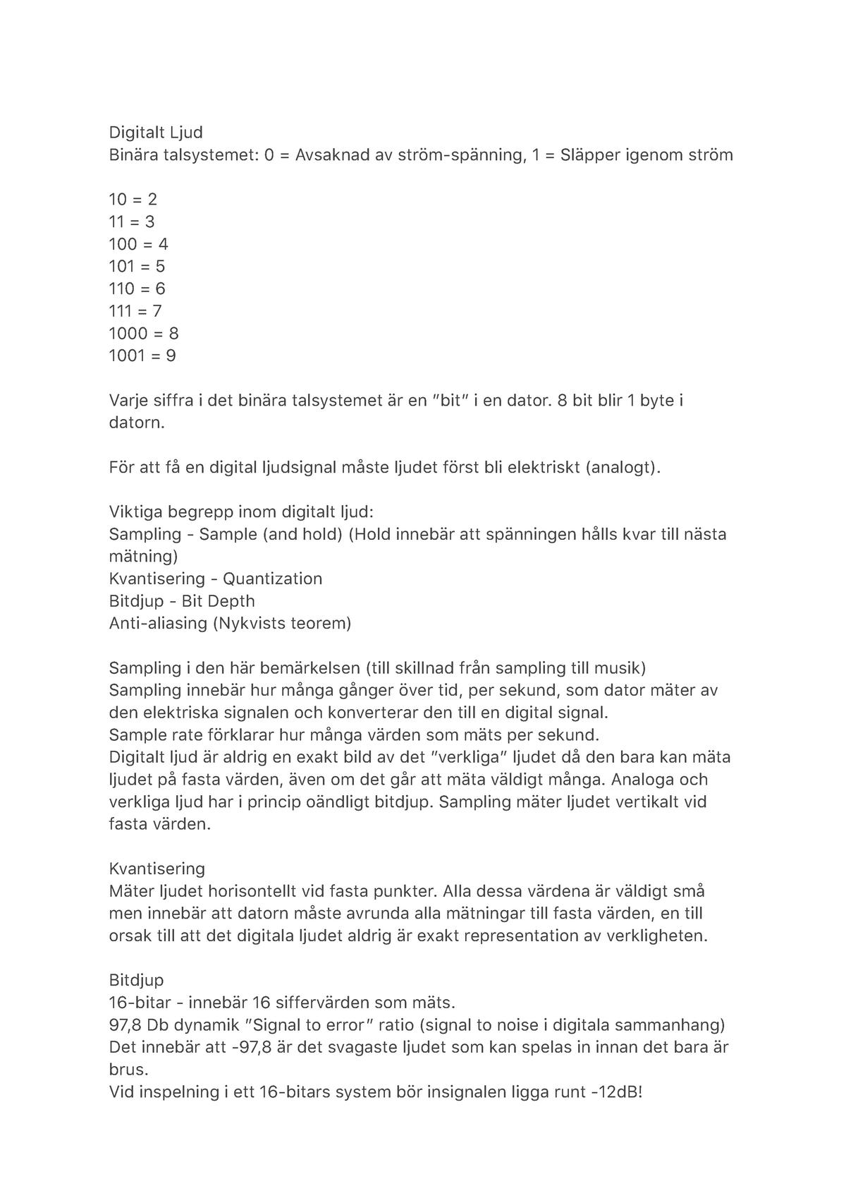 Frisk Digitalt Ljud - Från kursen Audioteknologi, Henrik Carlsson. - StuDocu UP-52