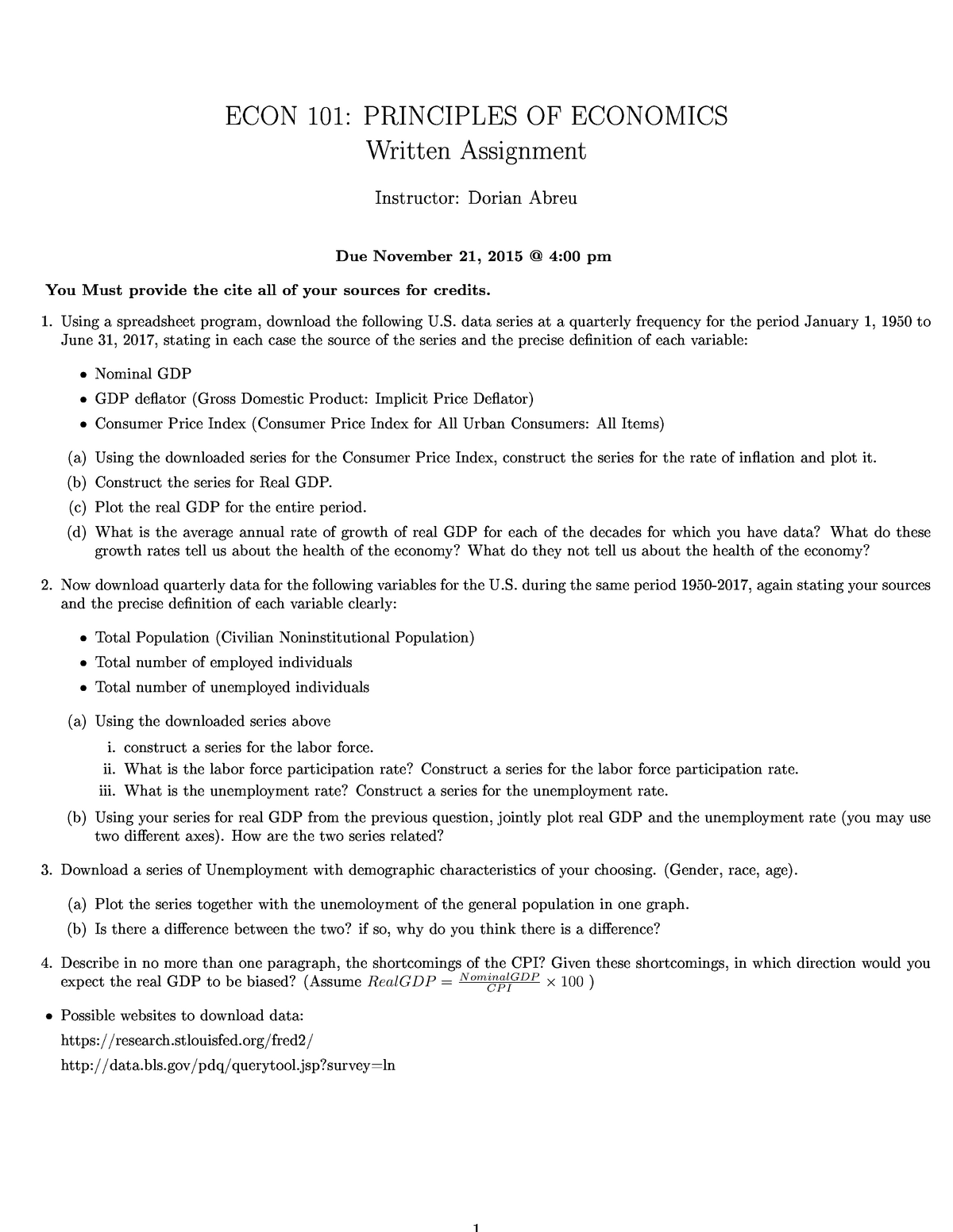 ECO 101 Written Assignment Fall 2017 - ECON 101