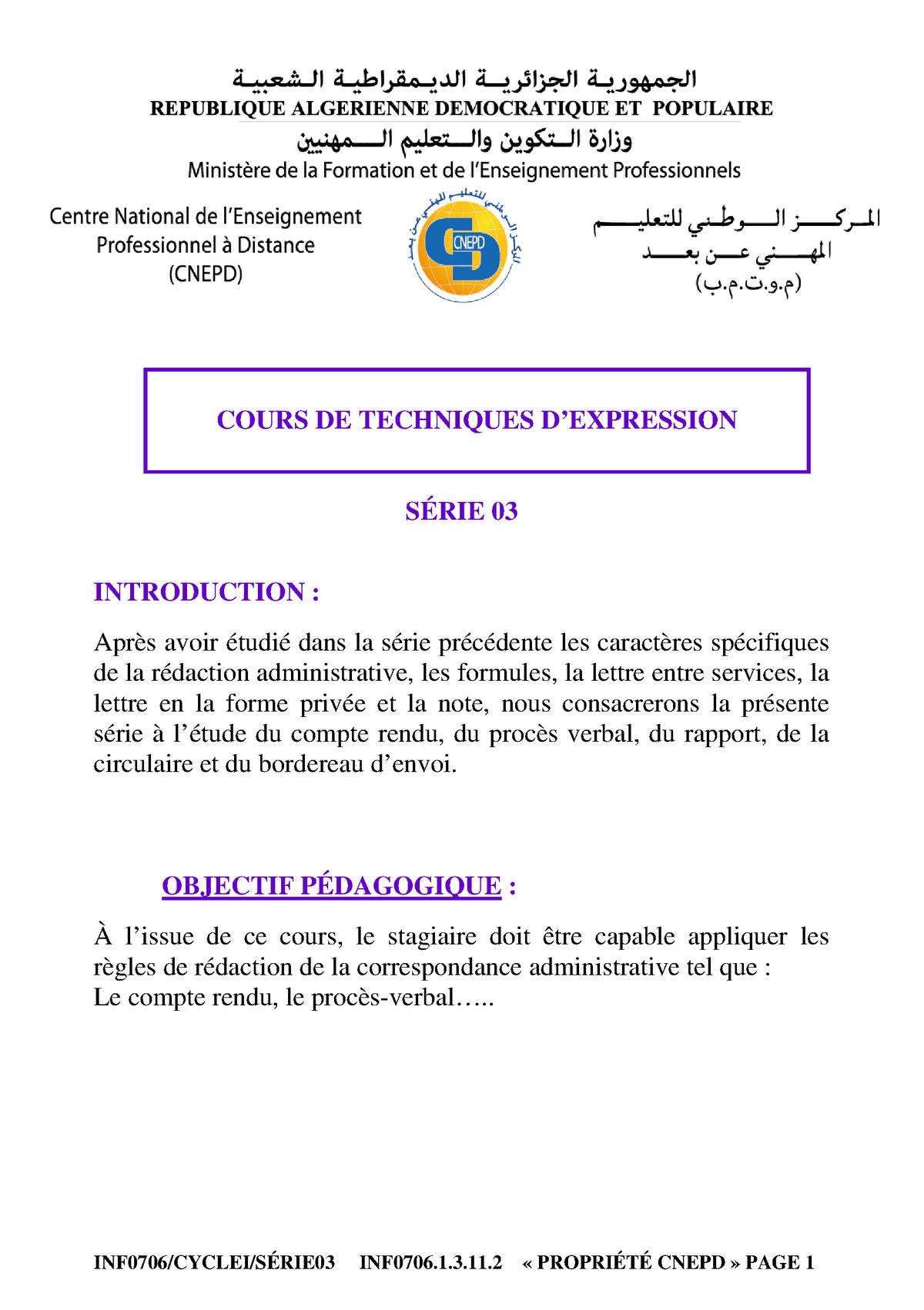 11 Technique D Expression Notes De Cours 3 Studocu