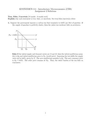 Assignment 2 Solutions - Econ 111 - queensu - StuDocu