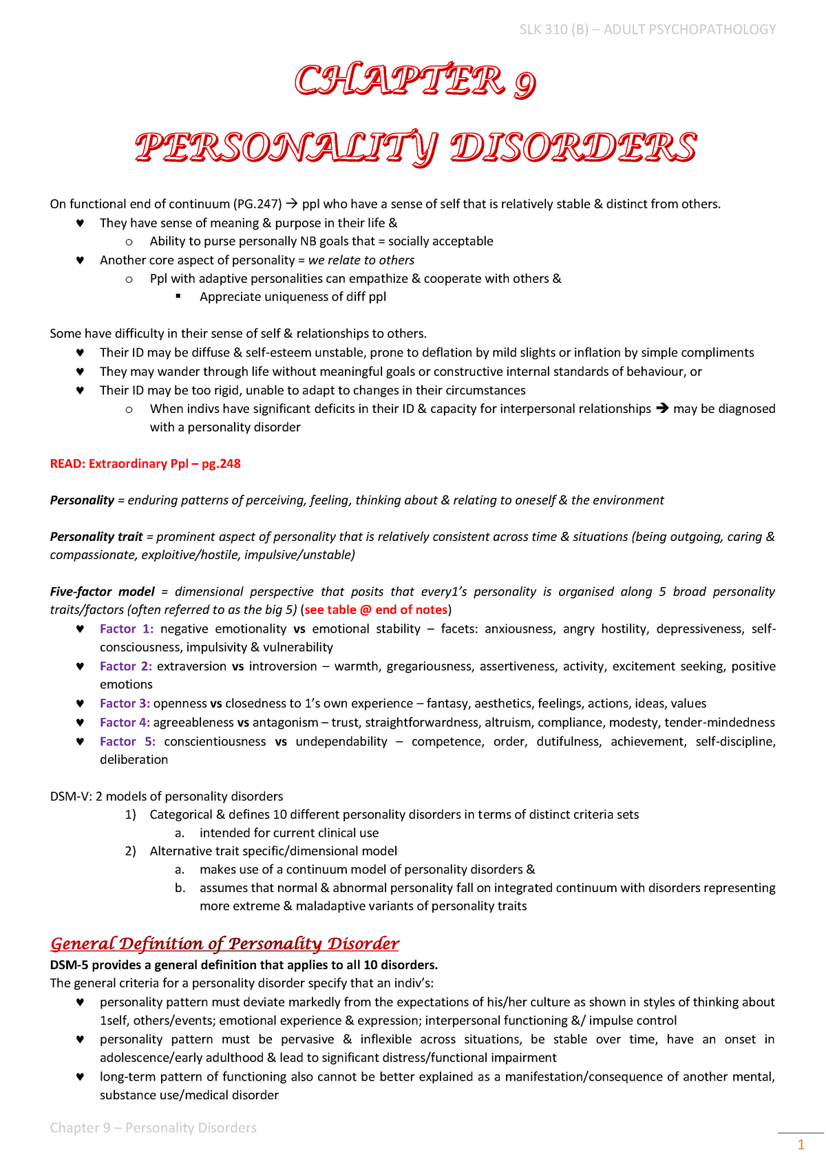 Chapter 9 - Personality Disorders - Psychology SLK 310 - UP