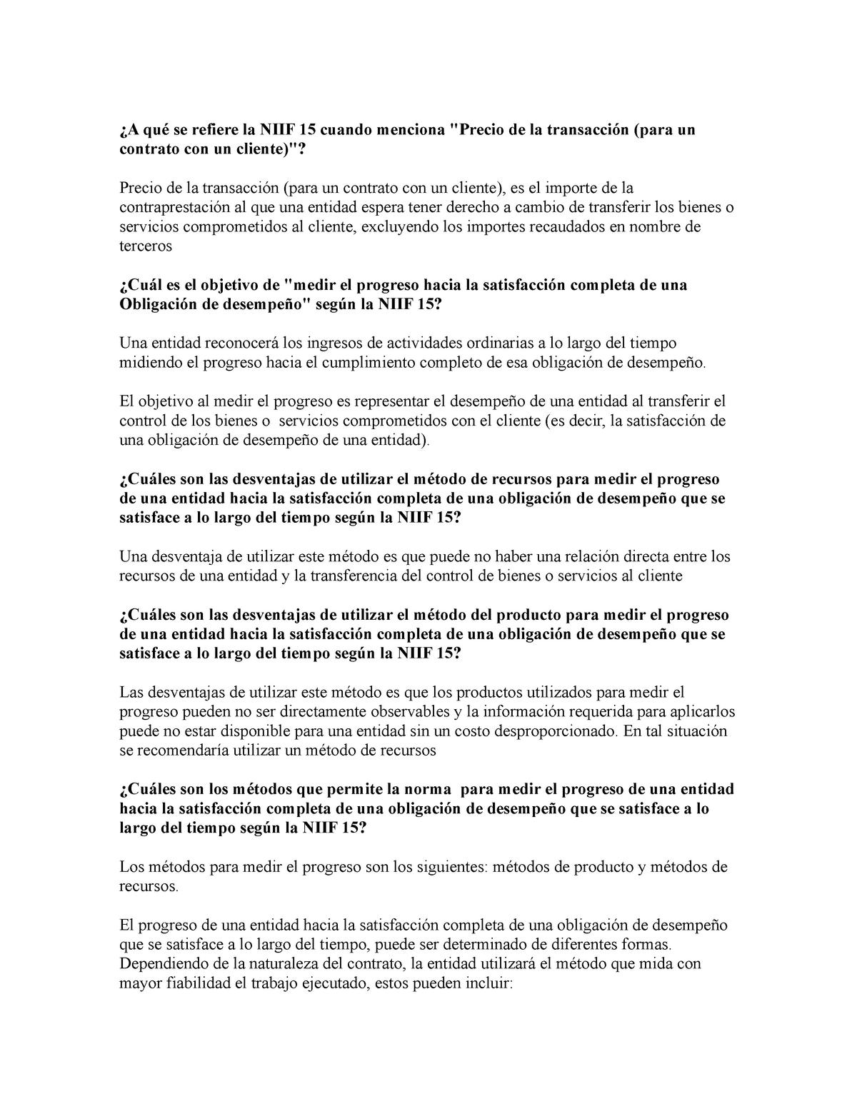 Preguntas Niif 15 Contabilidad General Se Refiere La Niif 15 Cuando Menciona De La Para Un Contrato Con Un Precio De La Para Un Contrato Con Un Cliente Es El Studocu