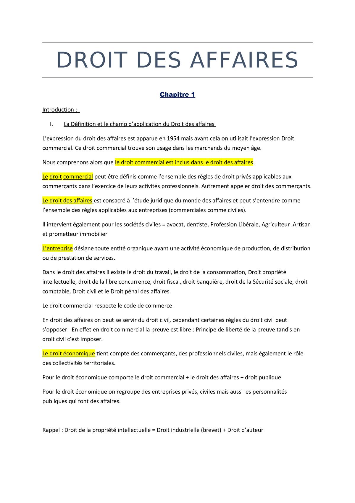 Droit Des Affaires Studocu
