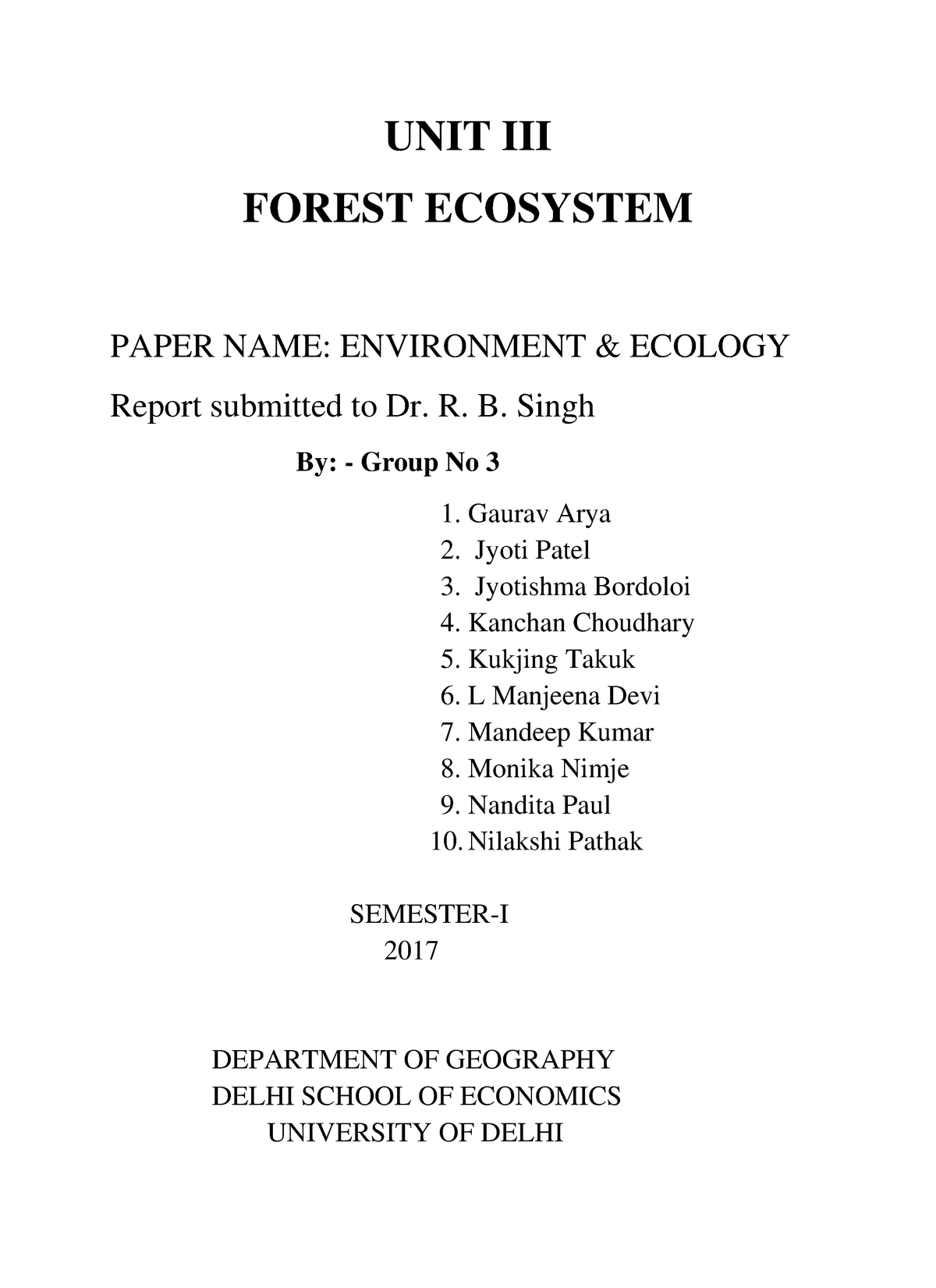 Group 3 - Forest Ecosystem - GEO-1: Geography - StuDocu