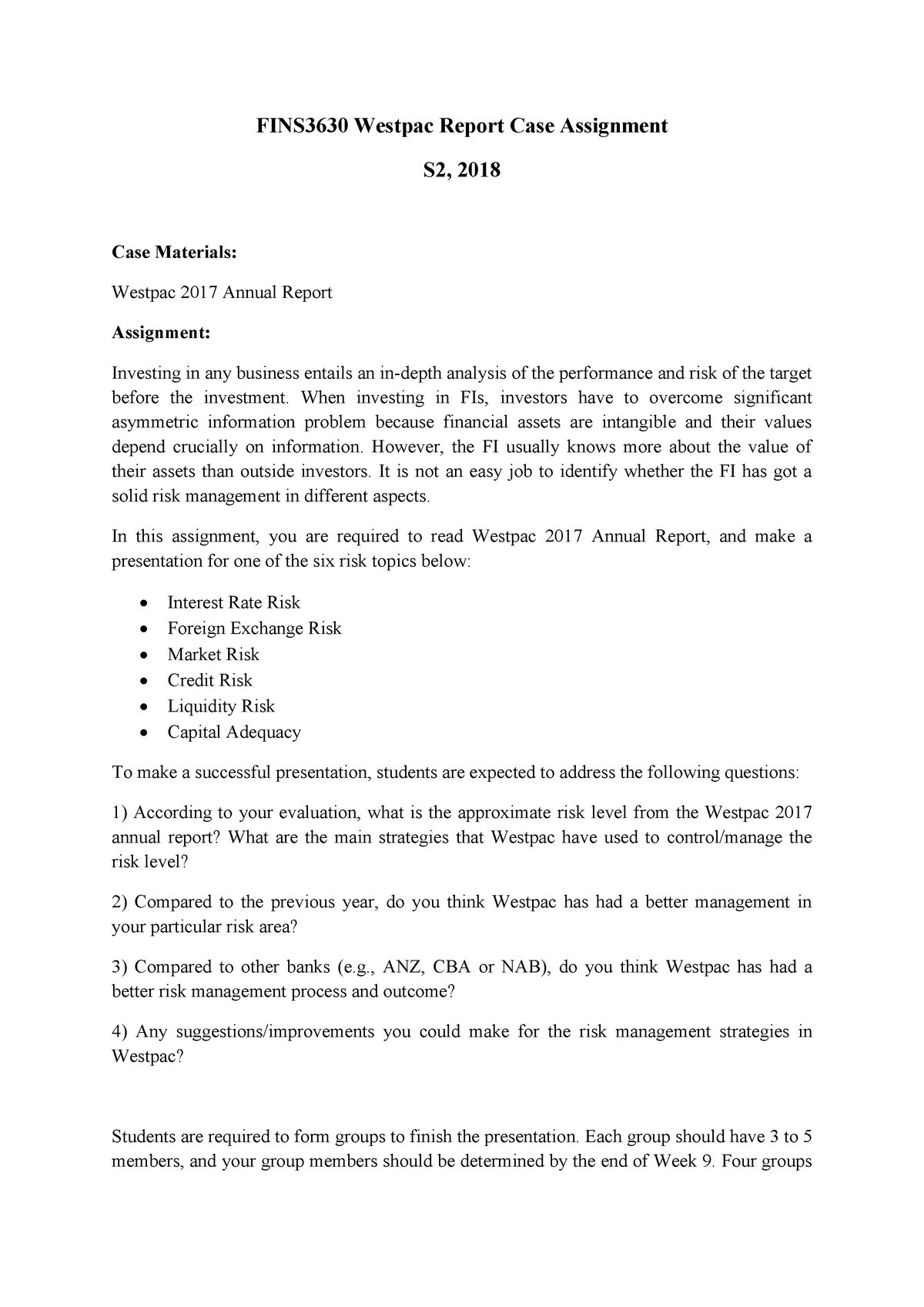 FINS3630 Case Project Presentation - FINS3630: Bank