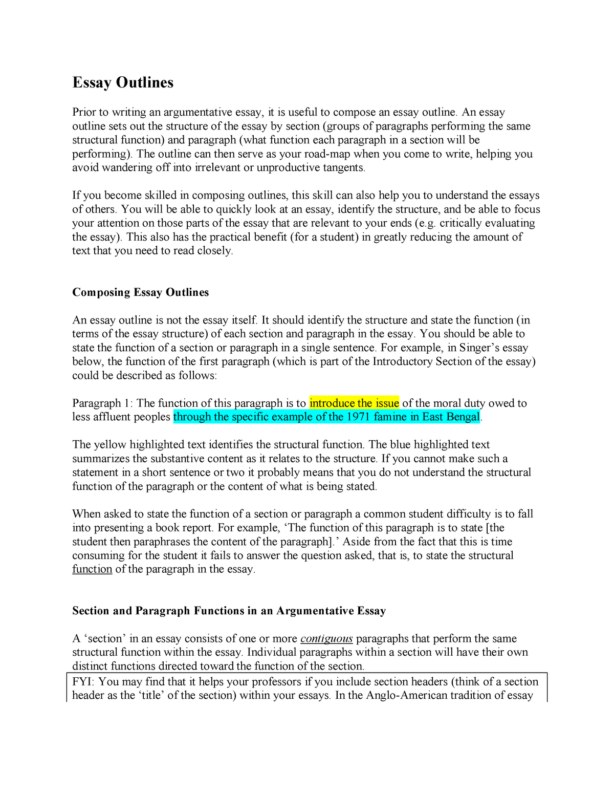 Essay Examples High School  How To Write An Essay For High School also High School Persuasive Essay Essay Handout Excerpt From Singer Famine Affluence And  Short English Essays For Students