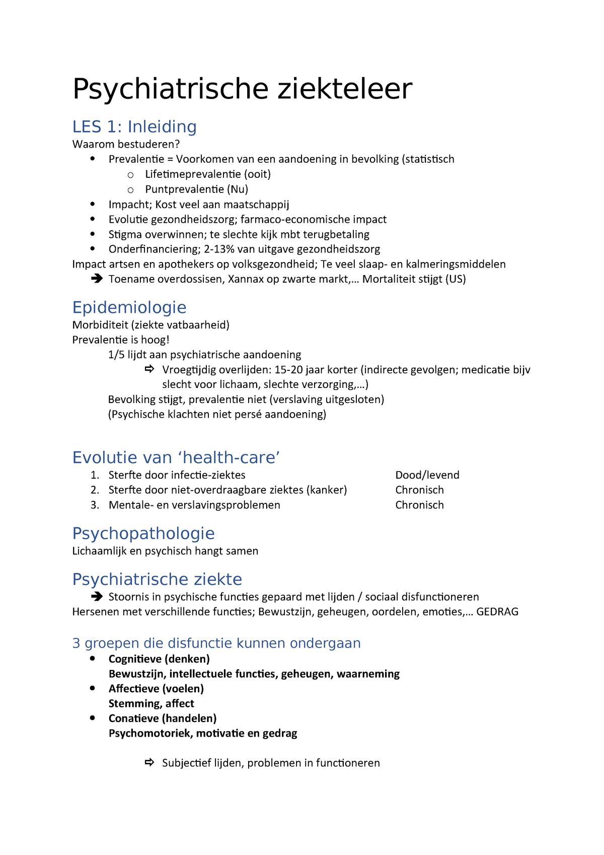 Psychiatrische Ziekteleer Sv 1031fbdfar Uantwerpen Studocu