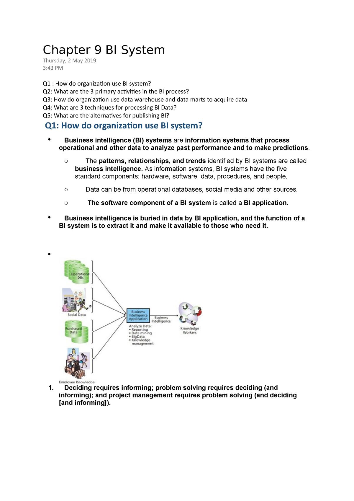 Chapter 9 BI System - INFS 1602 - StuDocu