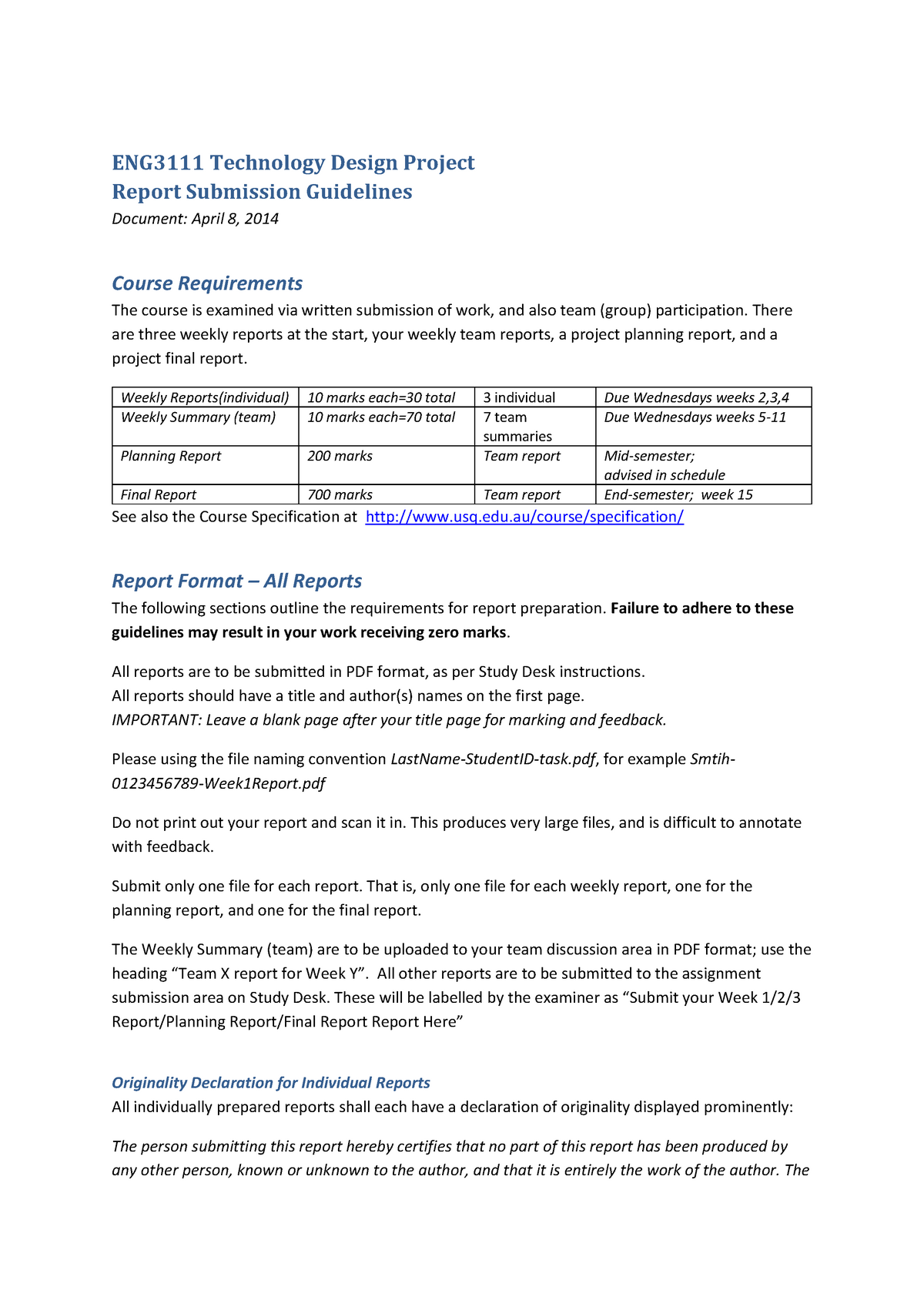 Final Year Project Report Format Pdf