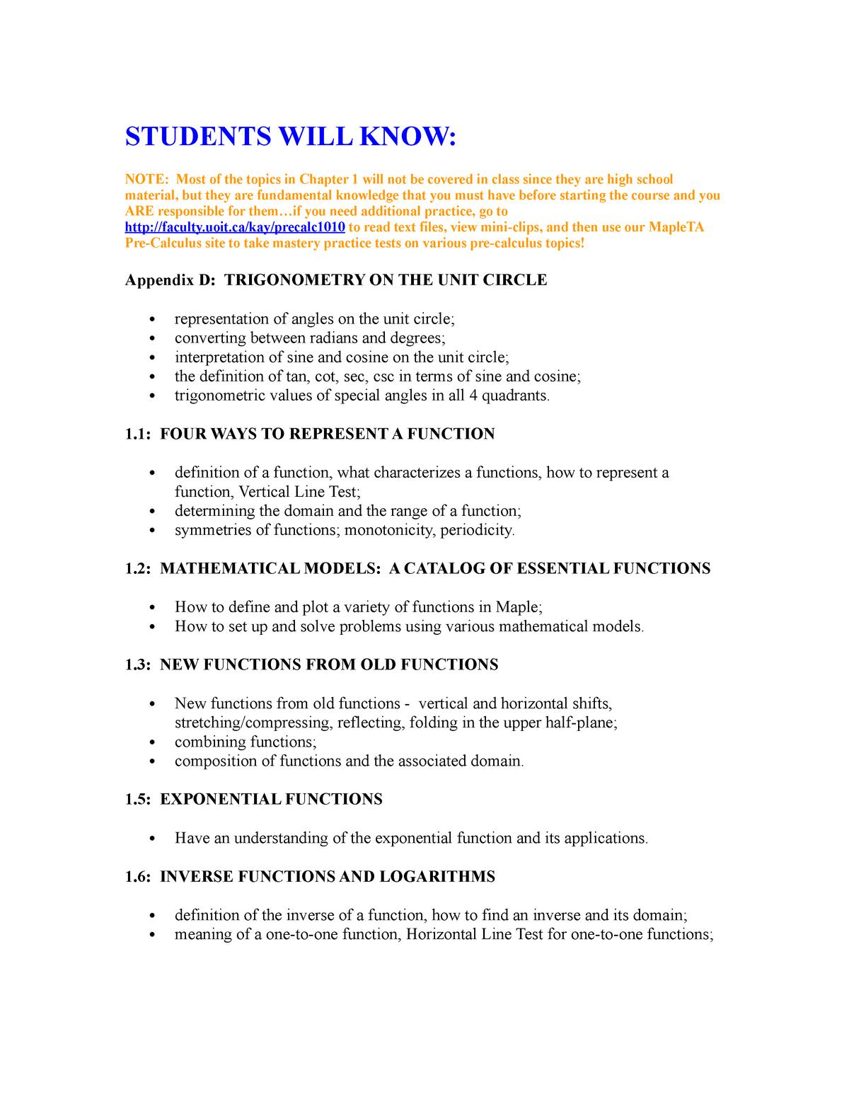 Calculus I First Week Homework Questions - MATH1010U