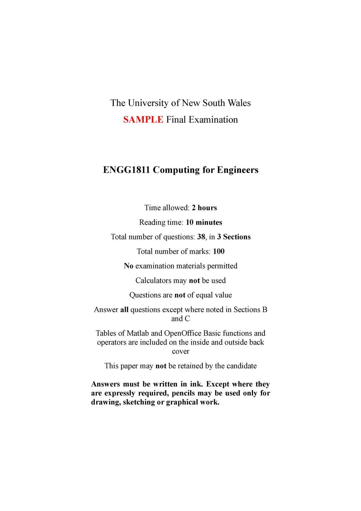 Sample/practice exam 2015, questions - ENGG1811 - UNSW - StuDocu