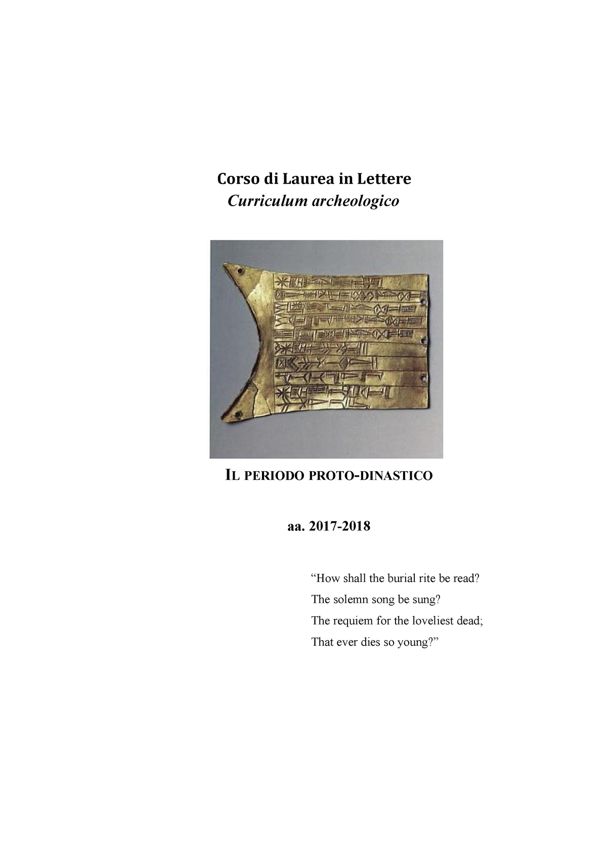Il periodo proto-dinastico - L-OR/03: Assiriologia e Storia