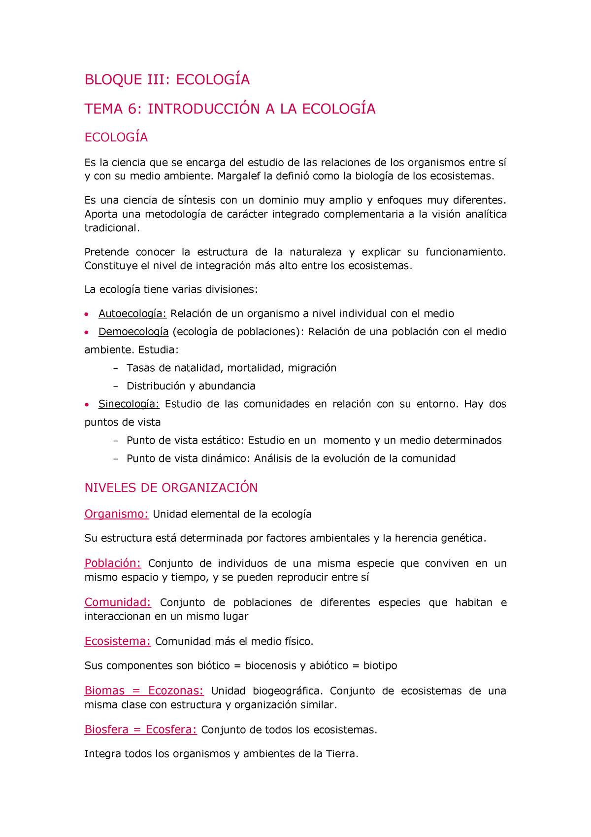 Apuntes Esquem áticos Ecología I Biología General 40605