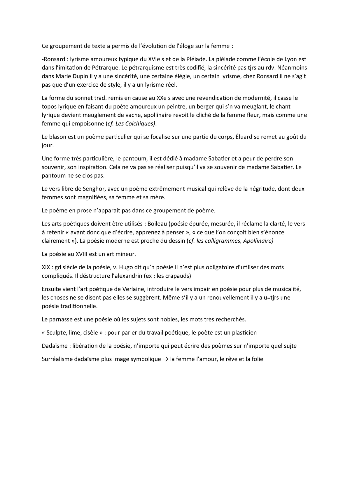 Bilan De La Poesie Français Amu Studocu