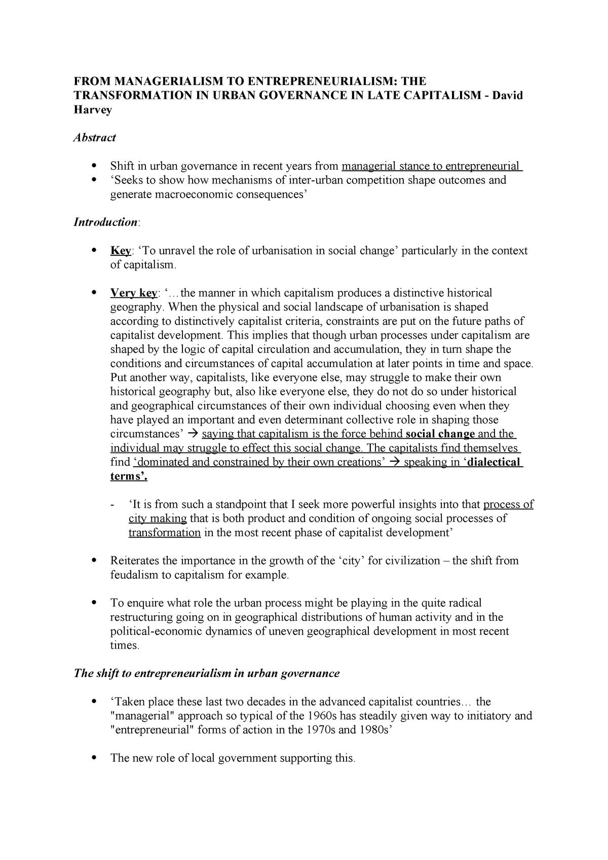 FROM Managerialism TO Entrepreneurialism - U20191 - StuDocu
