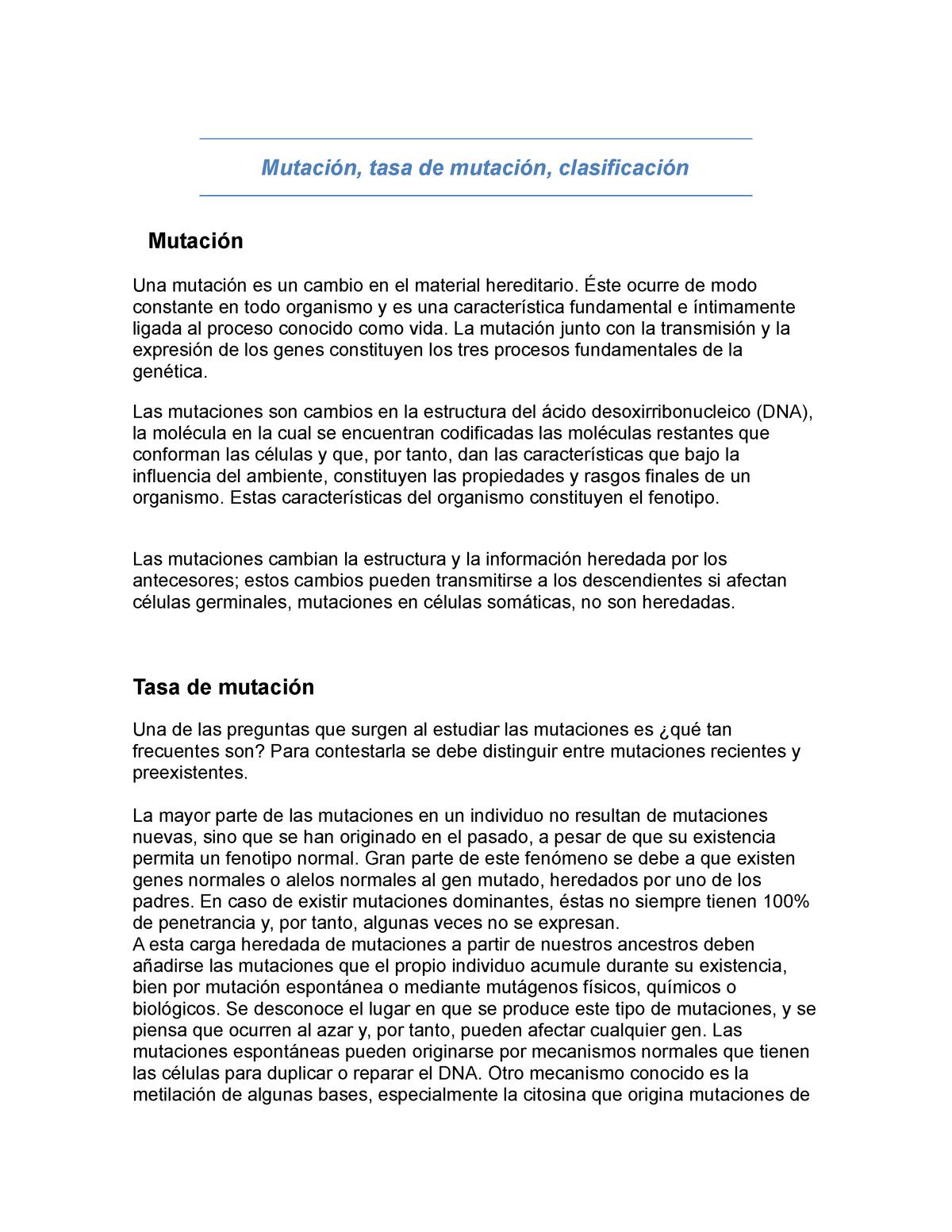 Mutación Tasa De Mutación Clasificación Mecanismos De