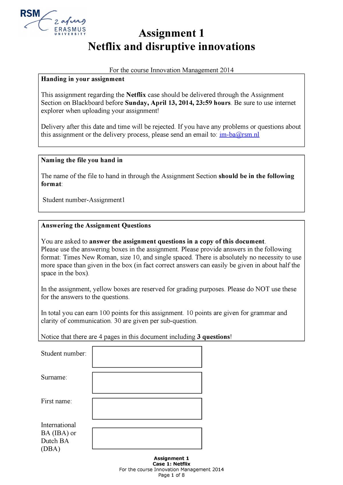 Seminar assignments - case 1