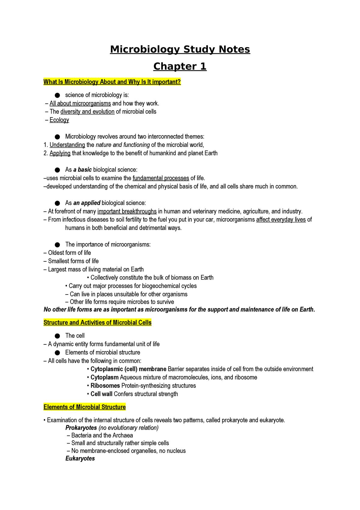 Microbiology Study Notes - Biology BLGY1683 - StuDocu