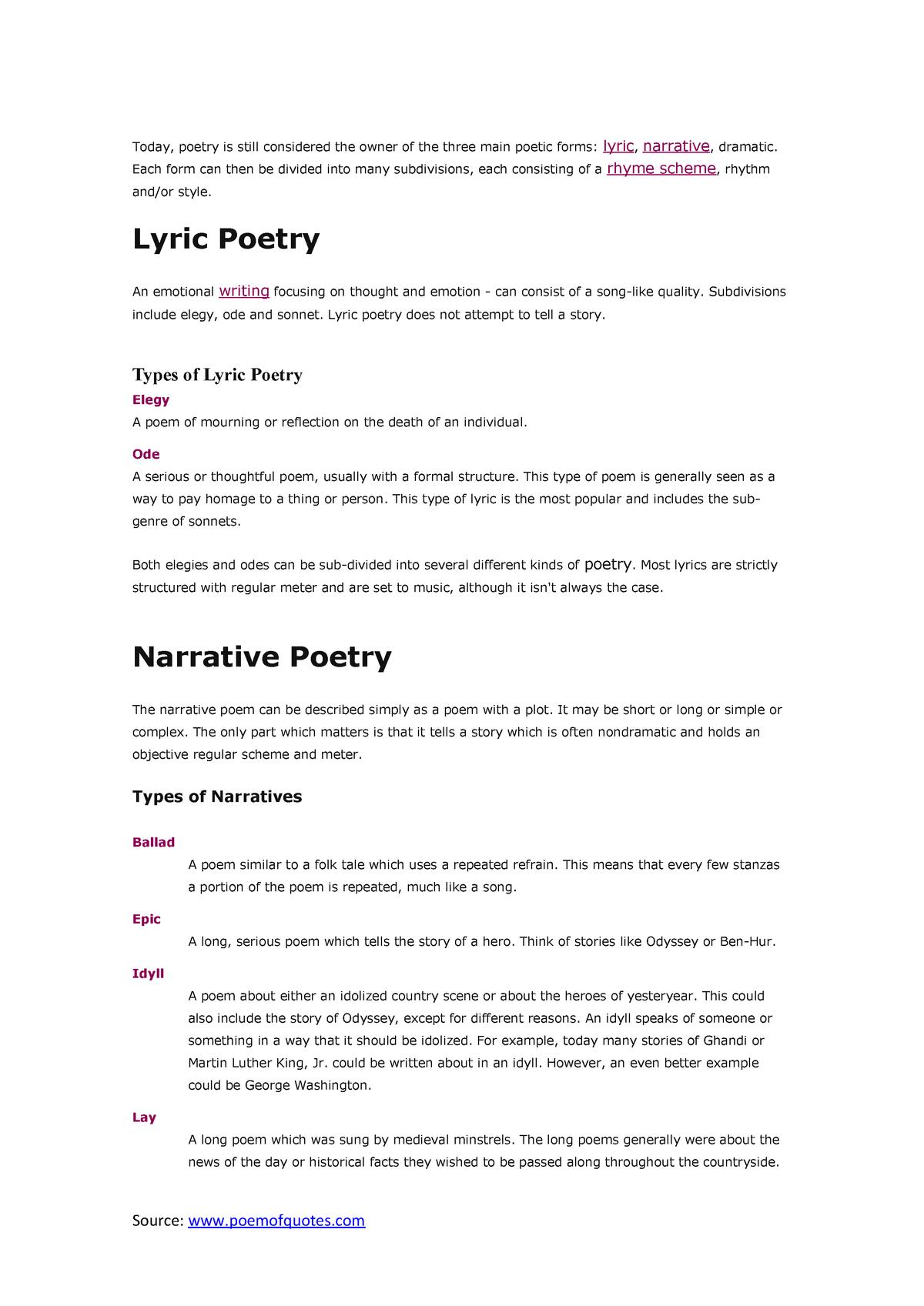 Resumen - Géneros de la poesía  Necesarios para la - StuDocu