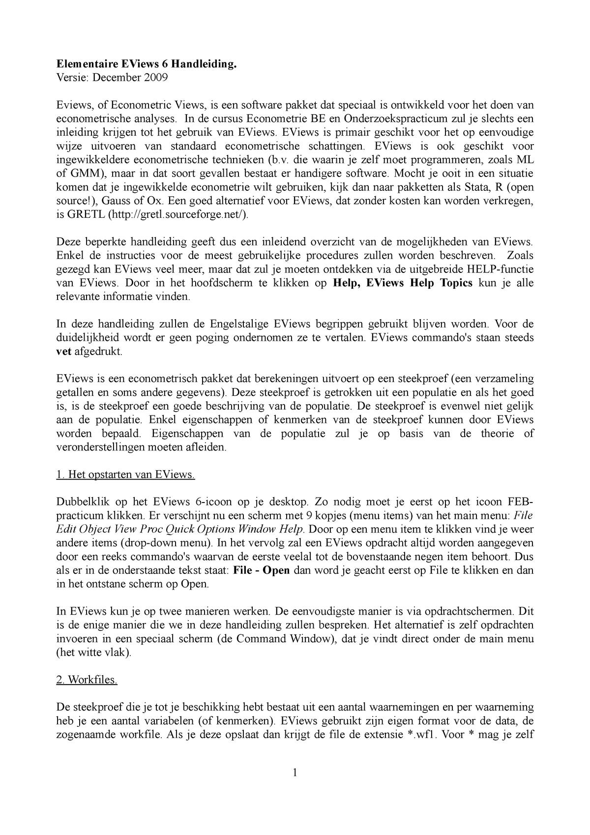 Elementaire EViews 6 Handleiding  - 6011P0103Y: Oriëntatie AEO 1