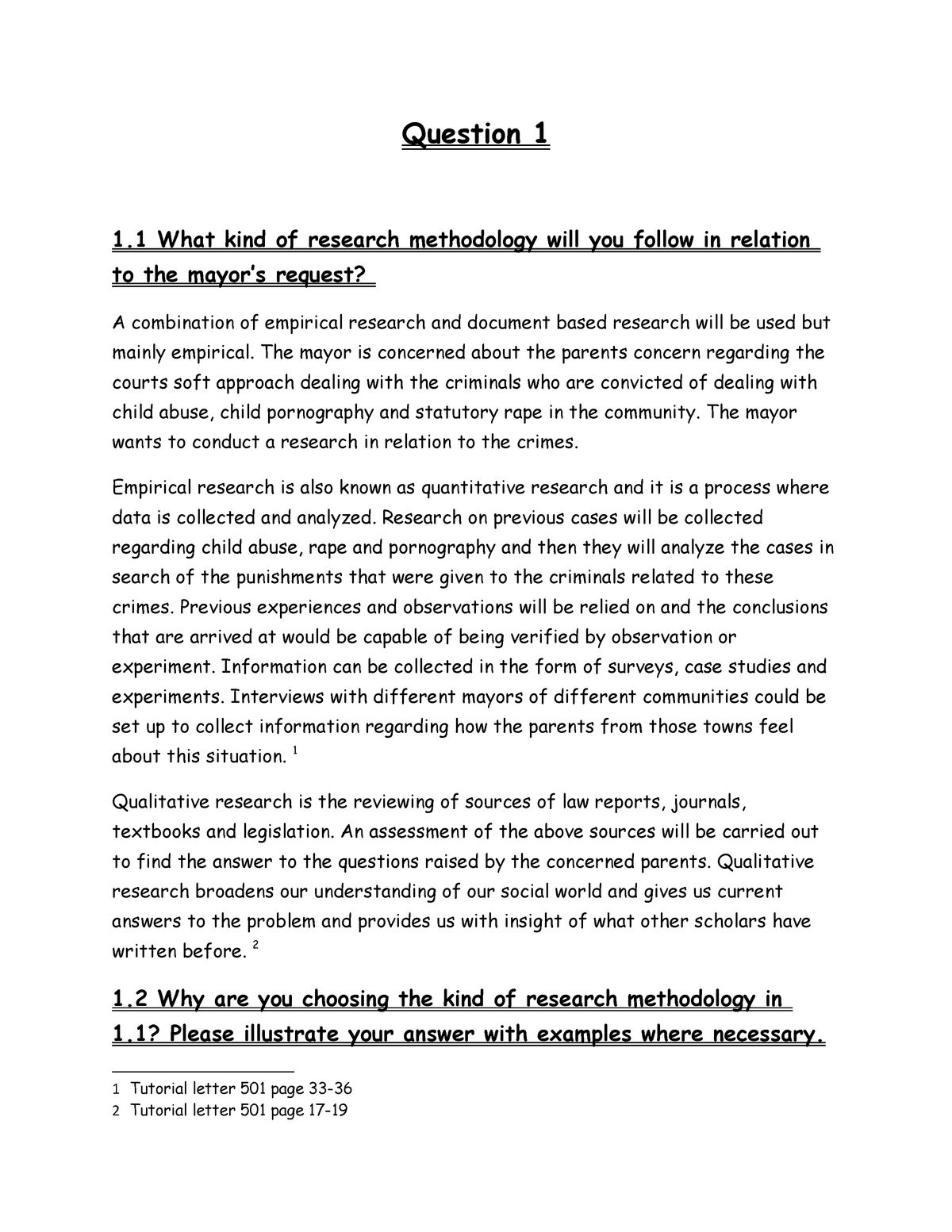 Irm Portfolio Of 2018 Question What Kind Of Research Methodology Will You Studocu
