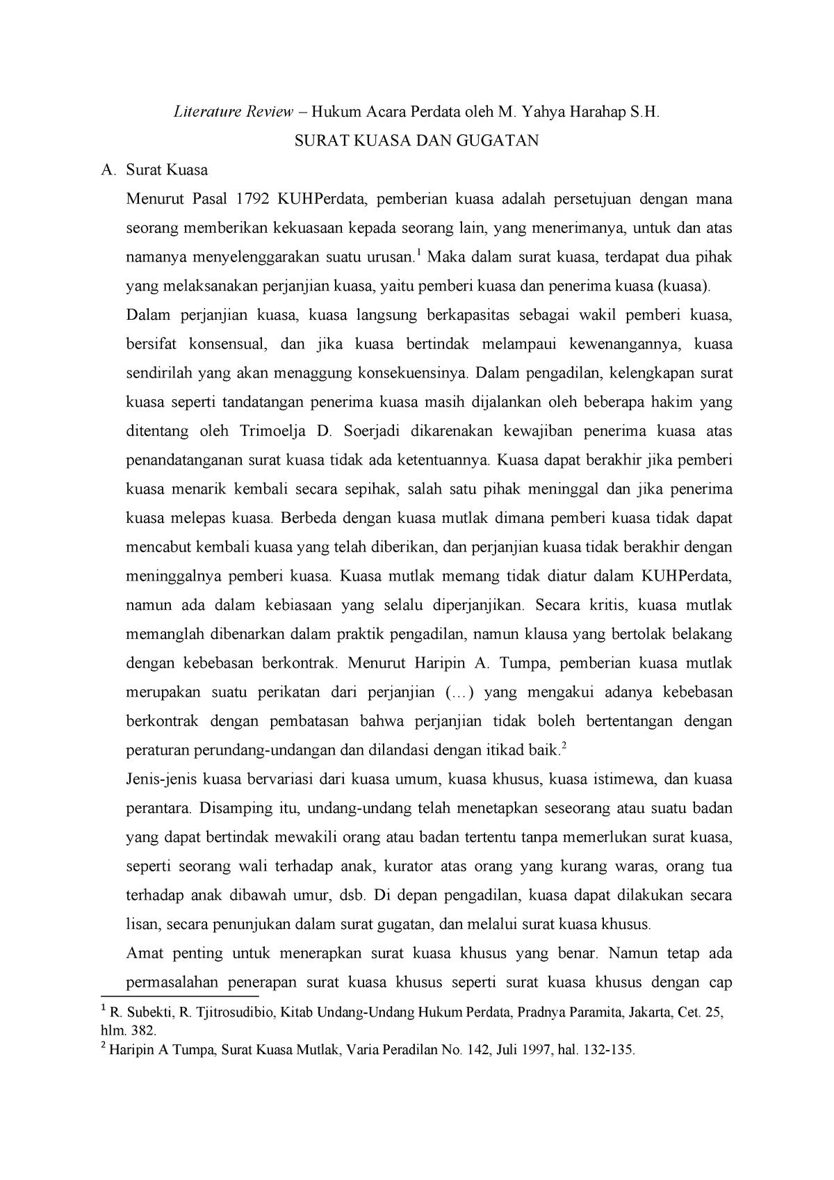 I Literature Review Hukum Acara Perdata Hku 1245 Ugm