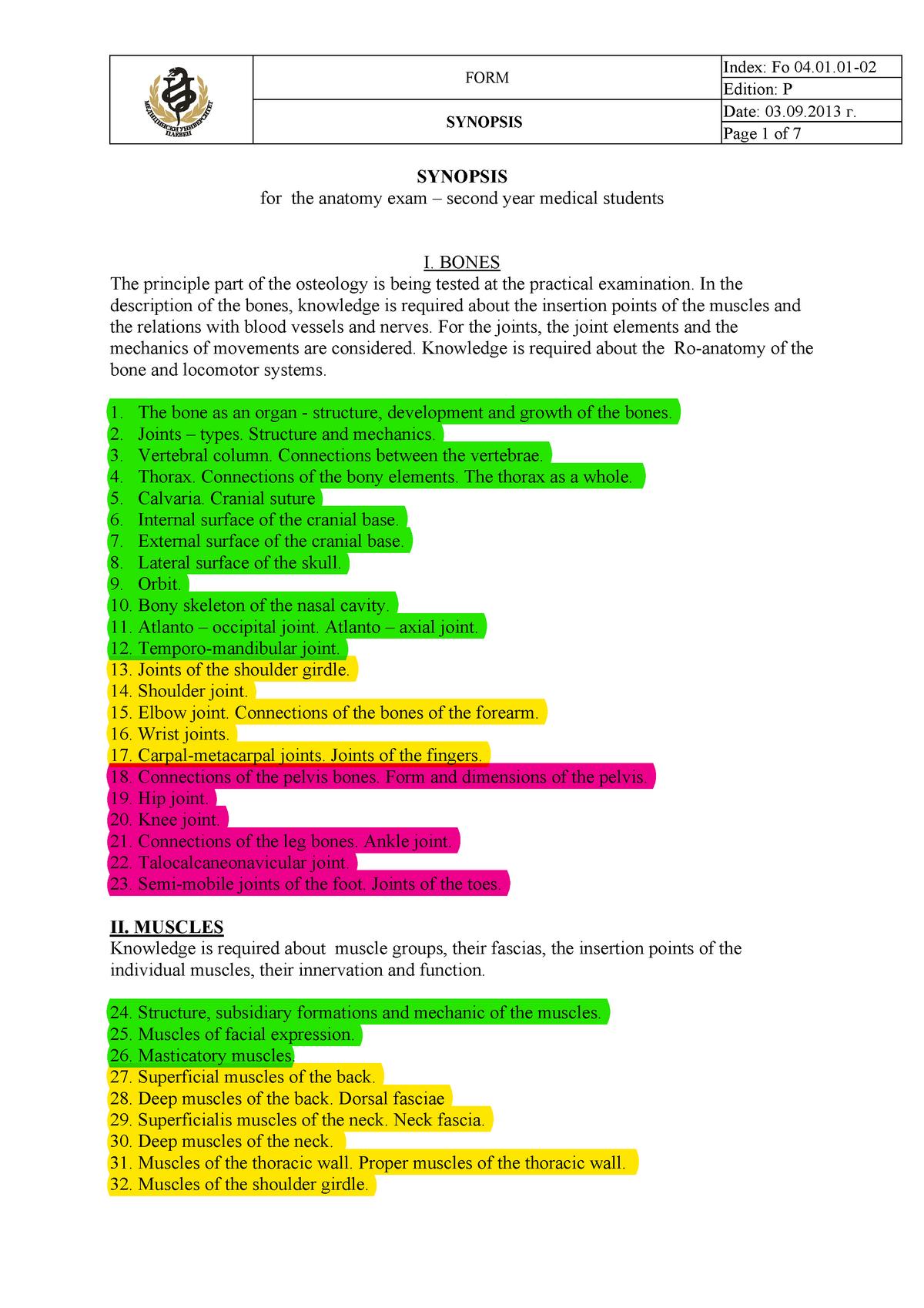 Anatomy synopsis - 1234 - StuDocu