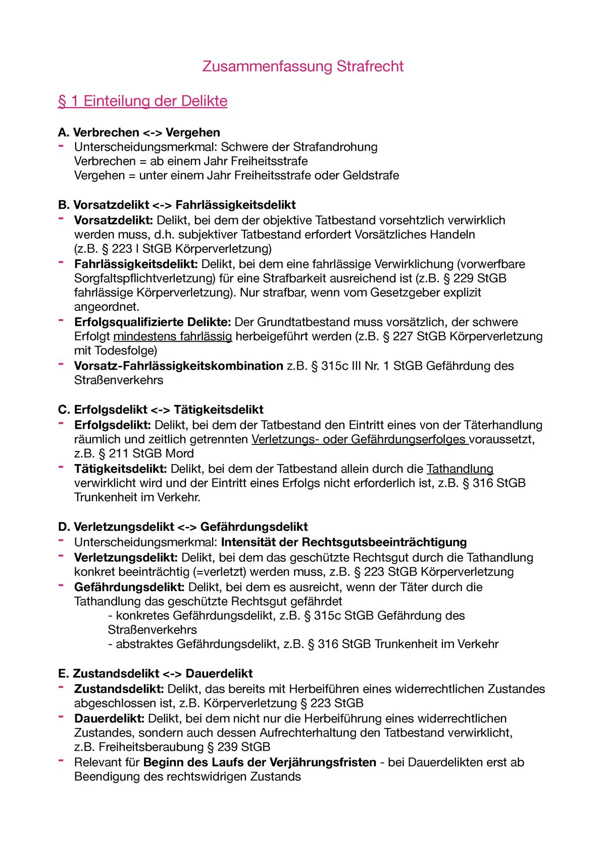 Zusammenfassung Strafrecht Grundkurs I Uni Augsburg Studocu