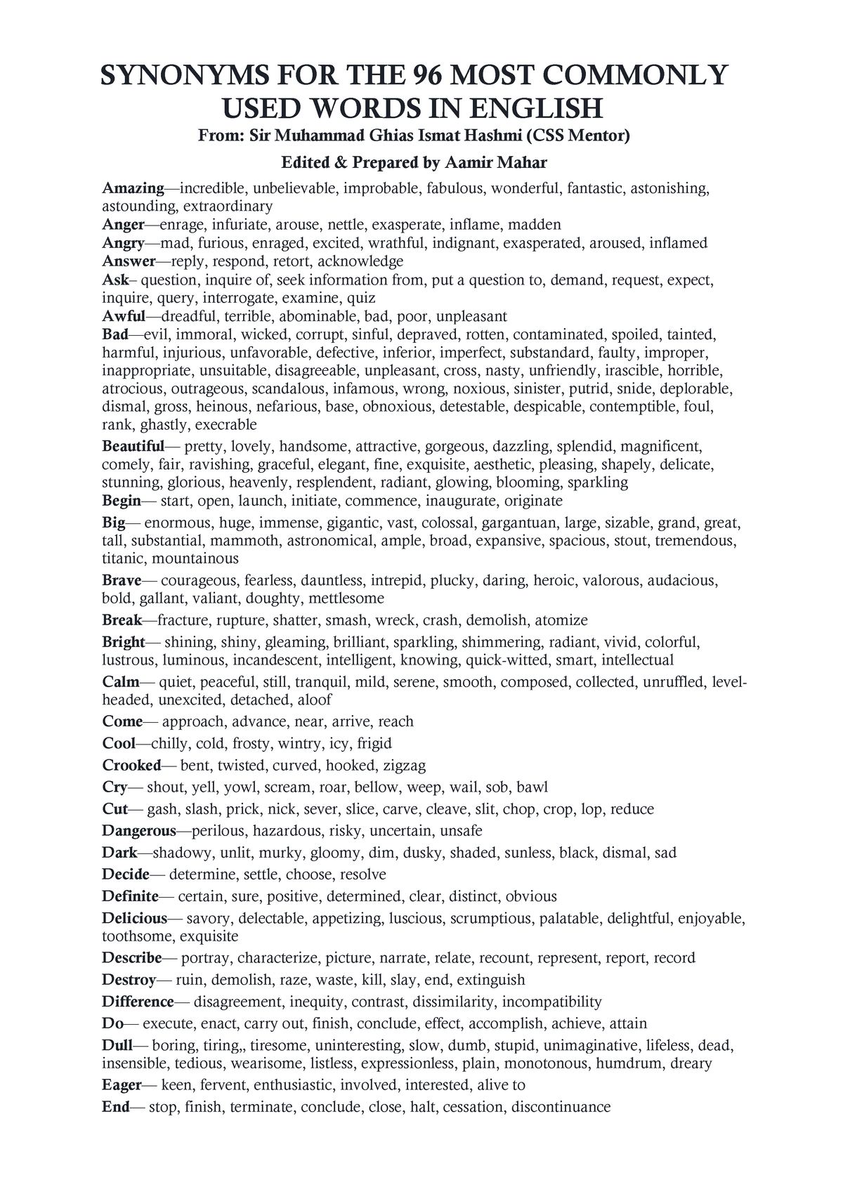 Synonyms for the 96 most commonly used words in English (Sir