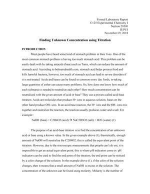 Formal Lab Report of Vinegar Lab - Chem-C125: Experimental Chemistry