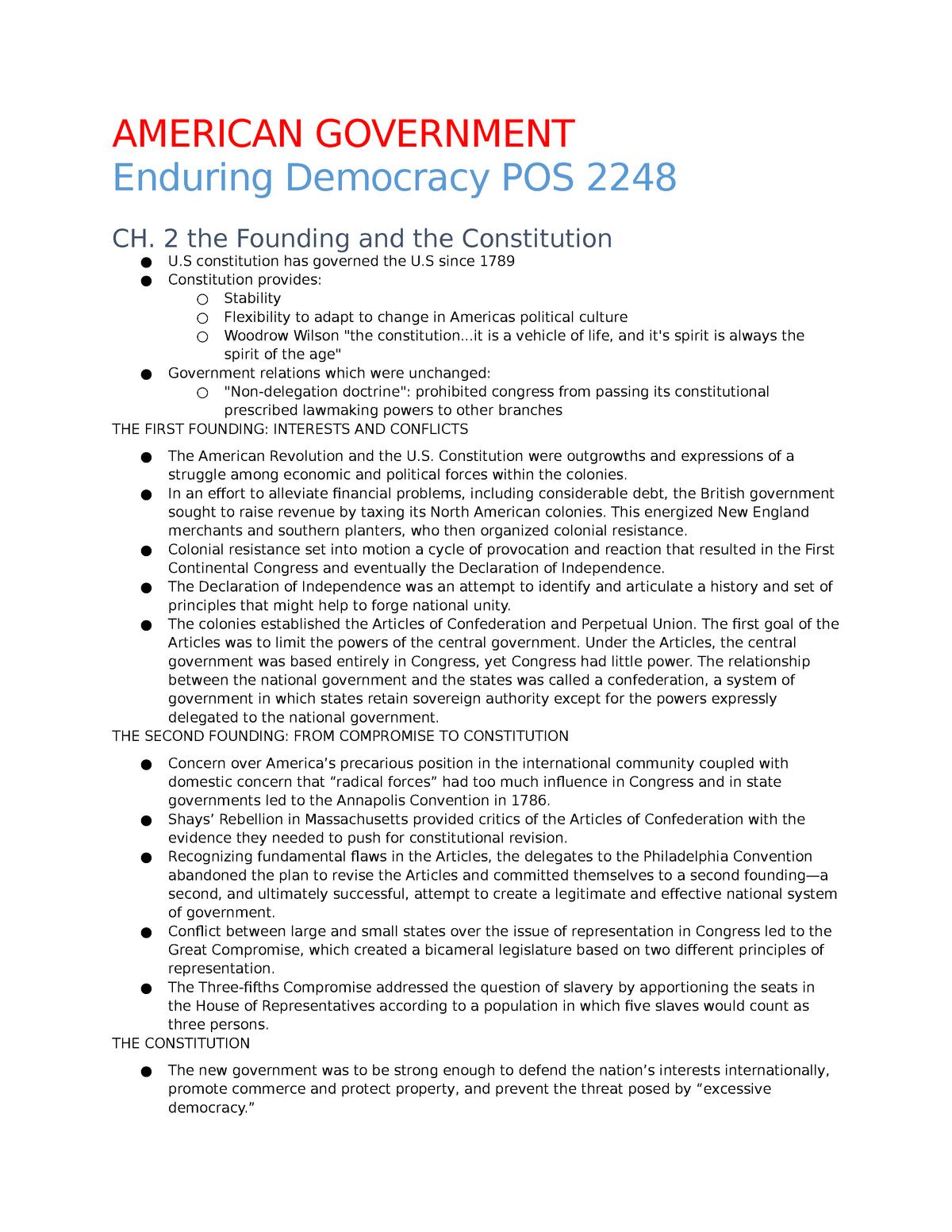American Gov't Notes - POS 2041: American Government - StuDocu