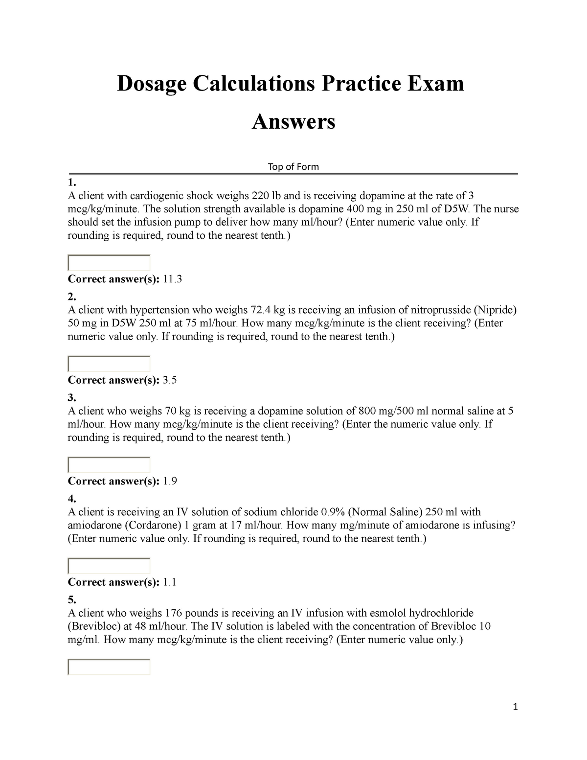 Dosage Calculations Practice Exam Answers - Mathematics