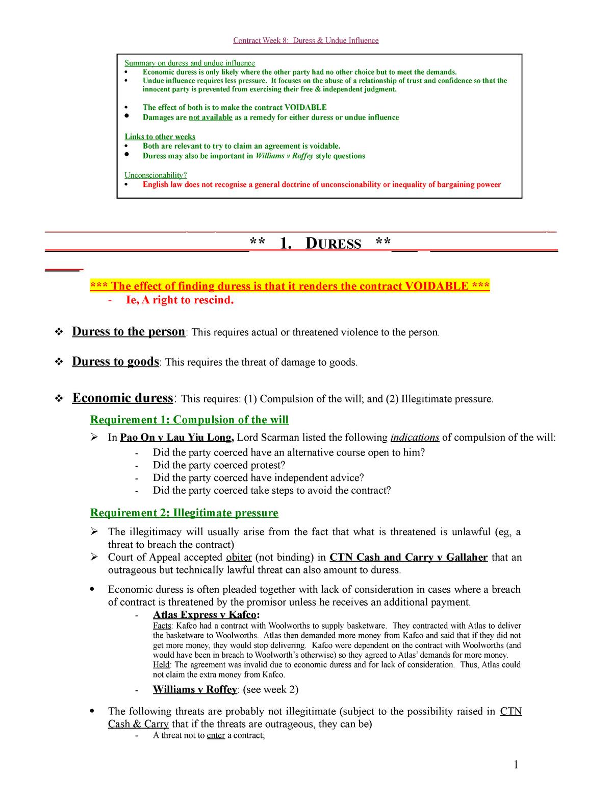 8  Duress & Undue Influence - Contract law - Herts - StuDocu
