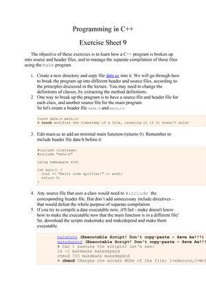 2016-2017 Lab Exercise Sheet 9 - Programming in C++ - StuDocu