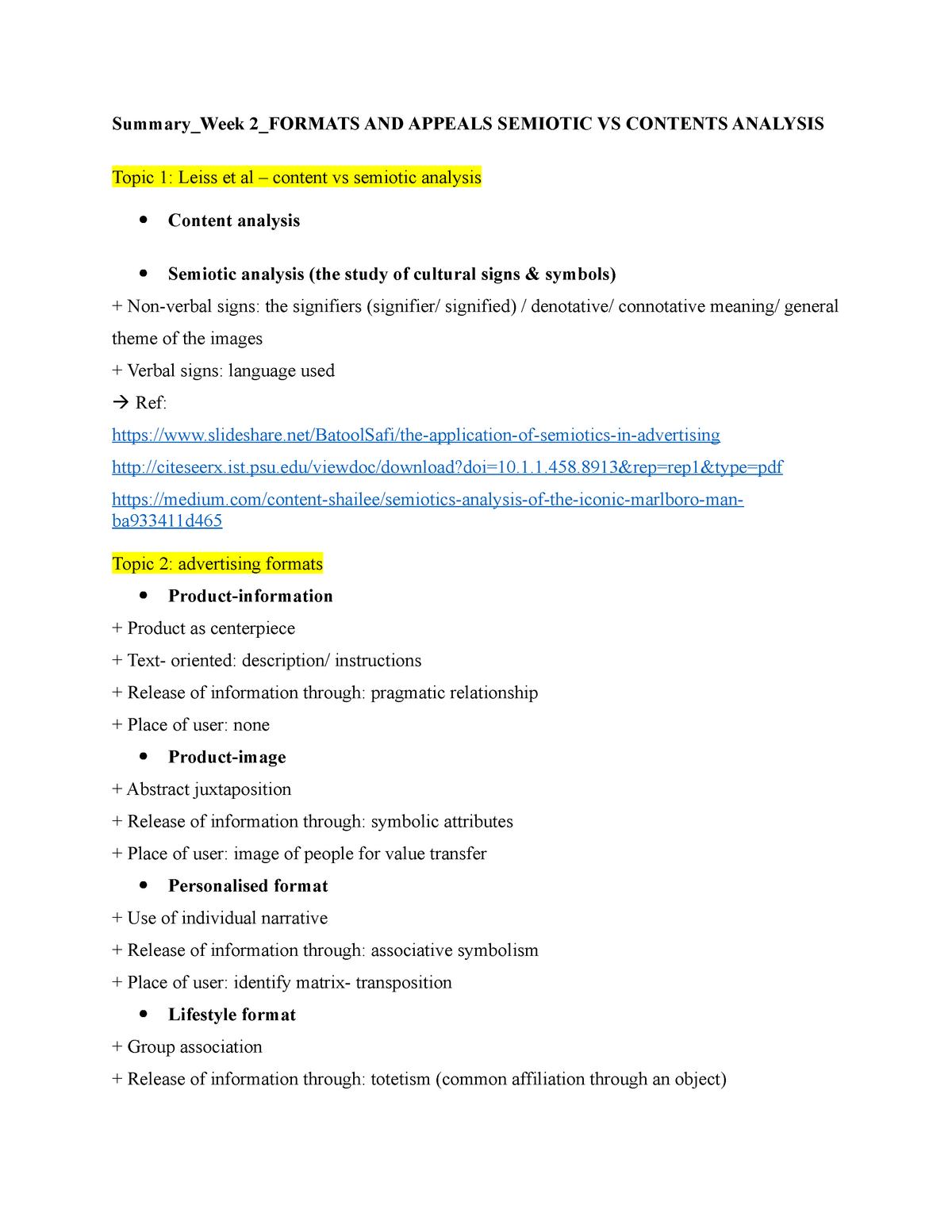Semiotic analysis - Summary Advertising as Cultural - StuDocu