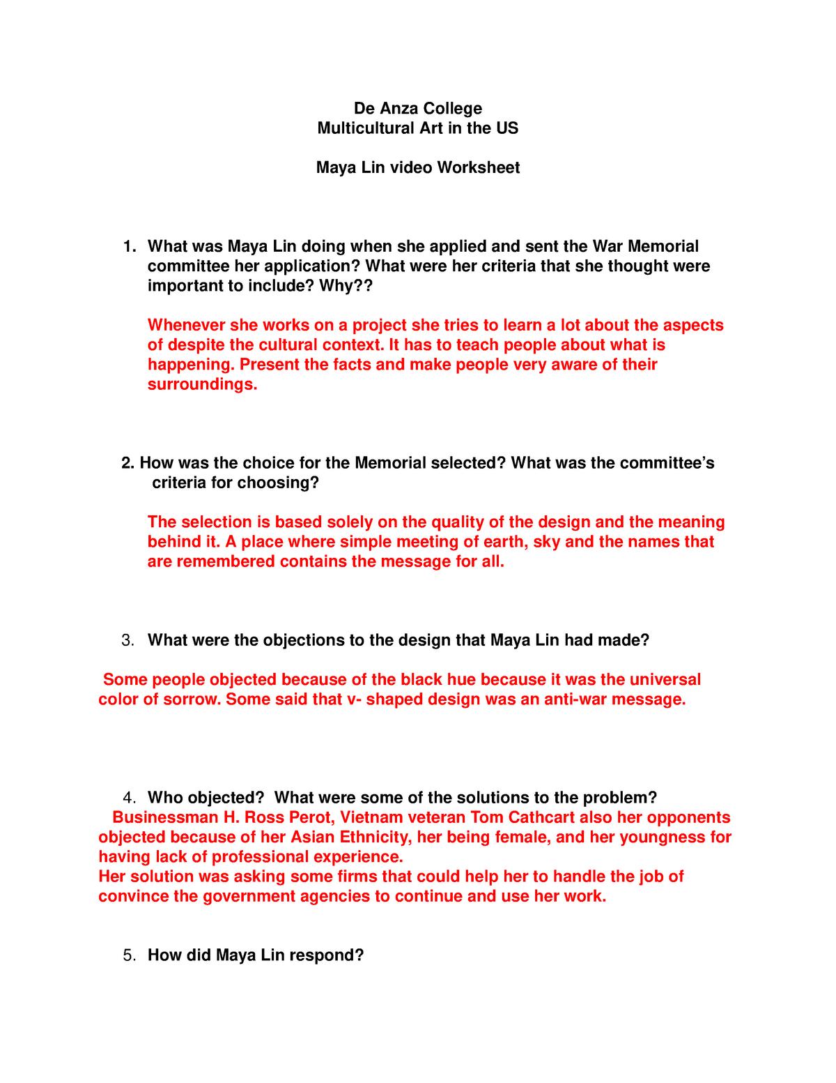 Maya Lin Video worksheet - ICS 5 - De Anza - StuDocu