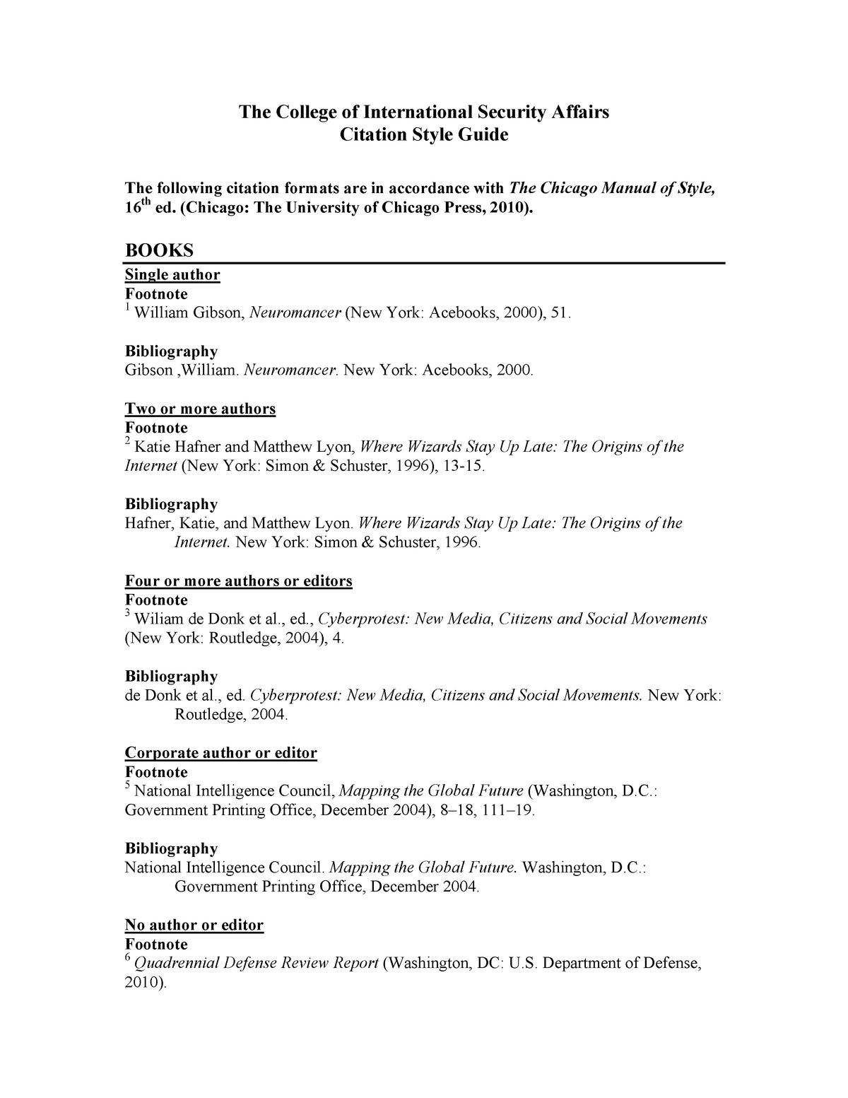 Cisa Citation Style Guide Footnotes Ed Ctf2018 Cisa Studocu