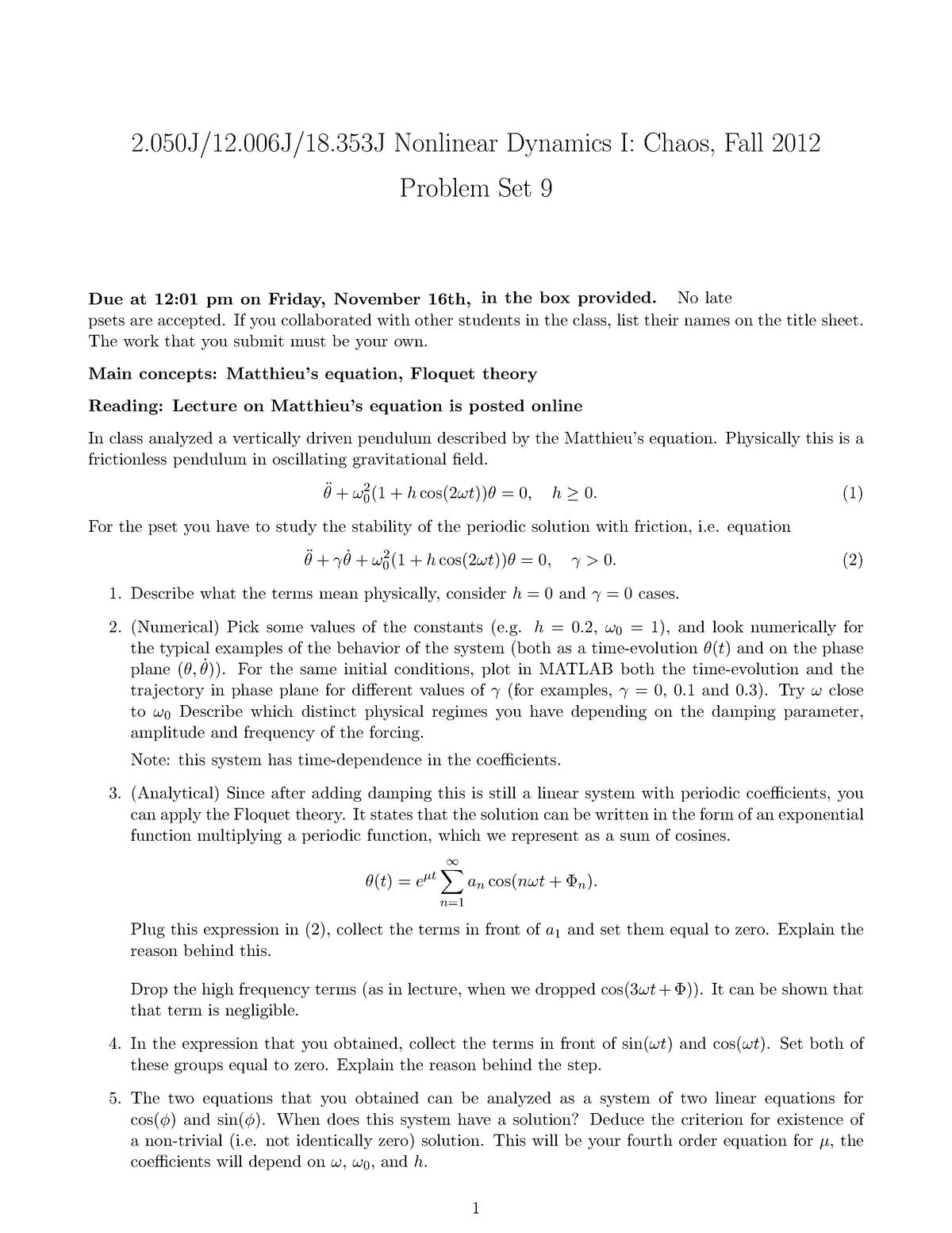 Seminar assignments - Problem set 7 - 9 - 2  050J: Nonlinear