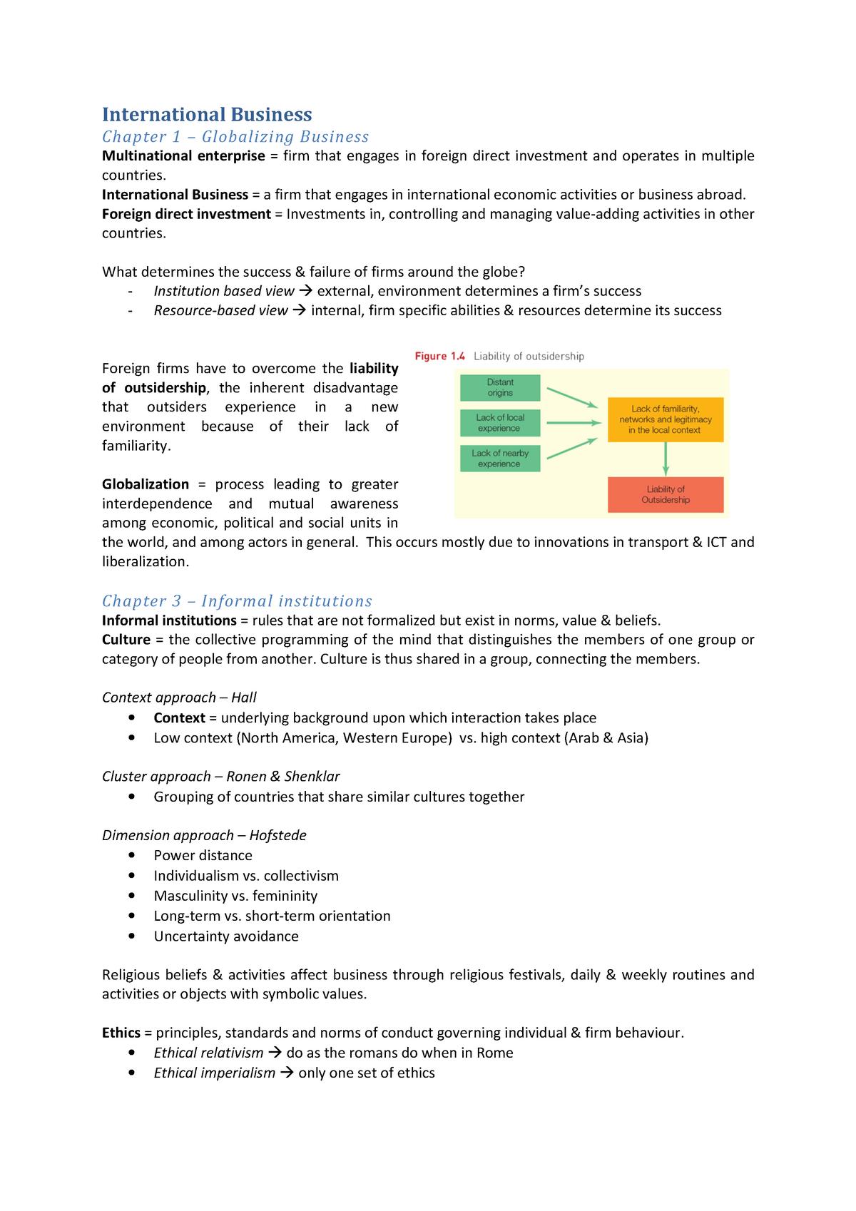 52f3b16af49 Samenvatting Summary International Business