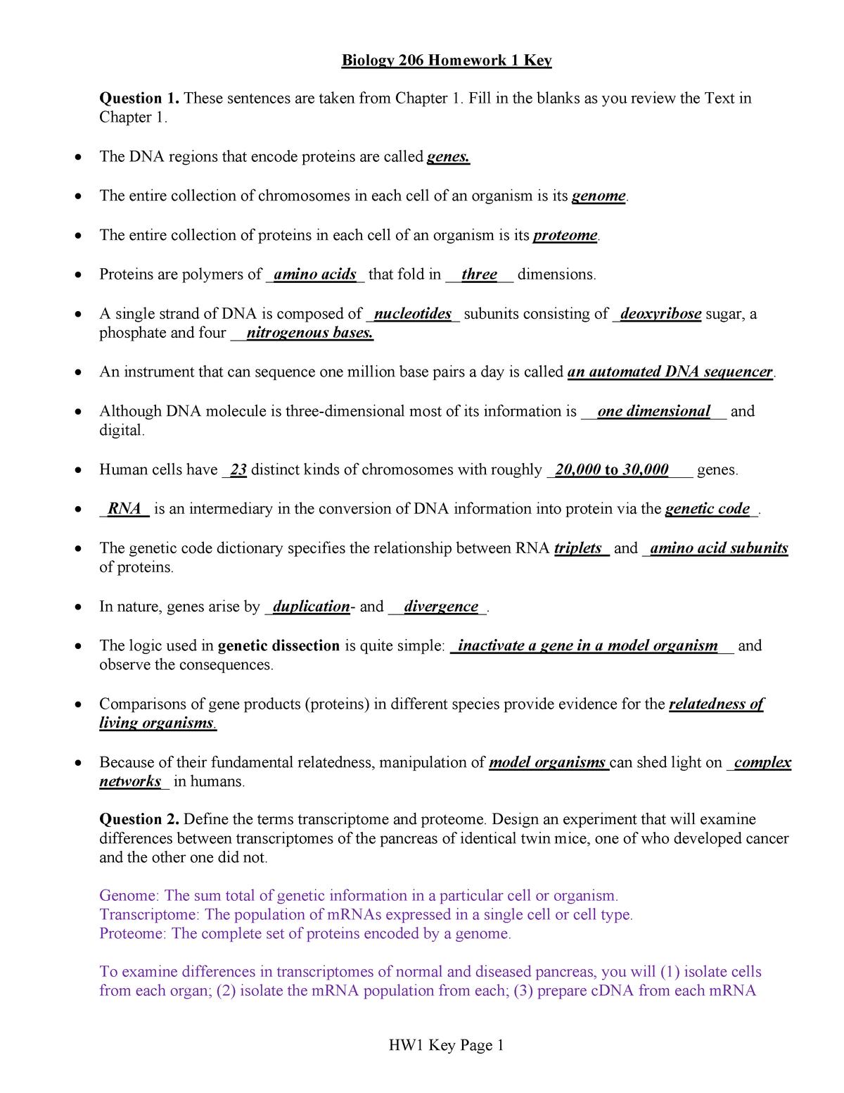 Homework number 1 key - BIO 20600 Introduction To Genetics
